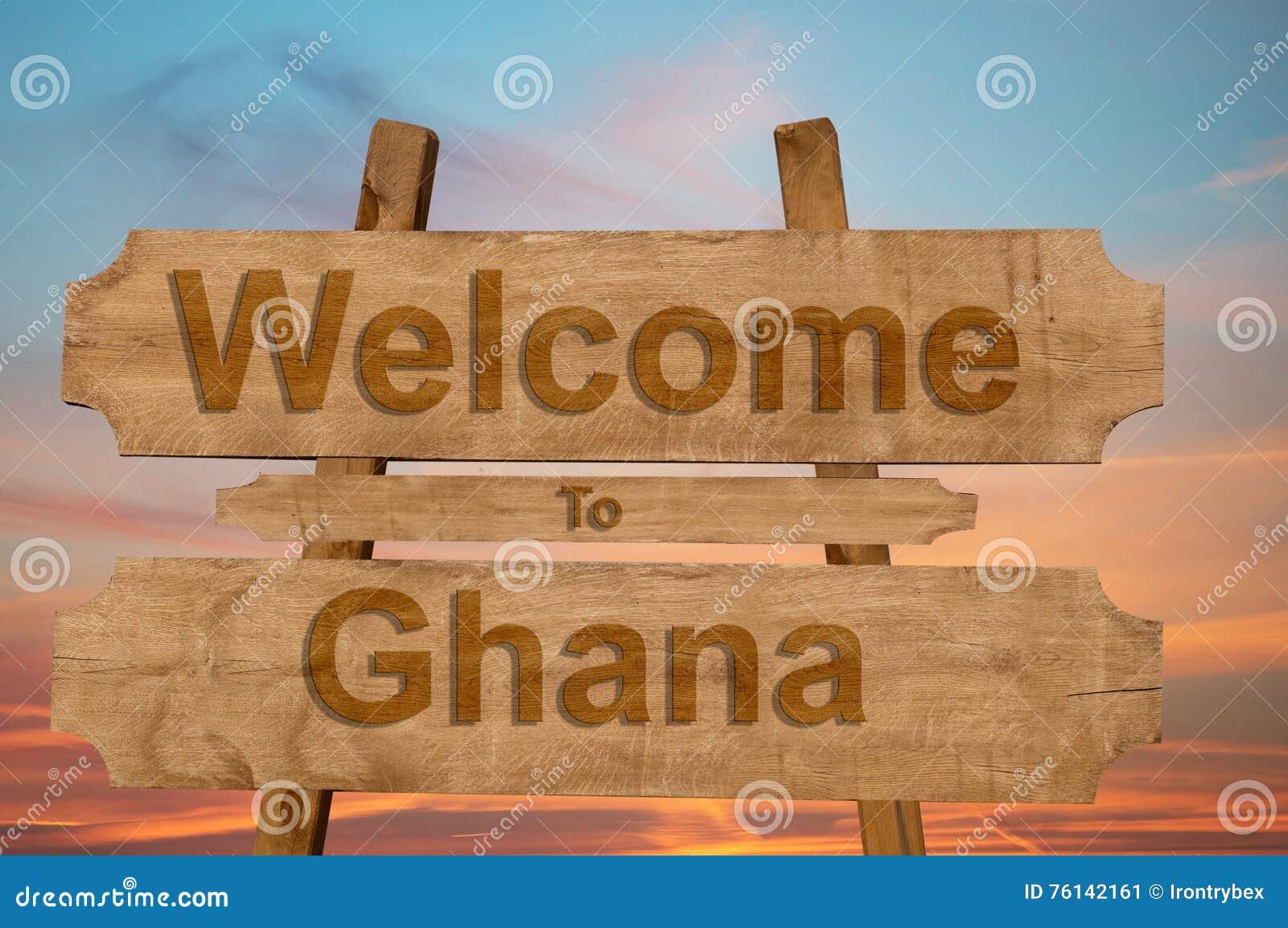 欢迎光临加纳在木背景唱歌