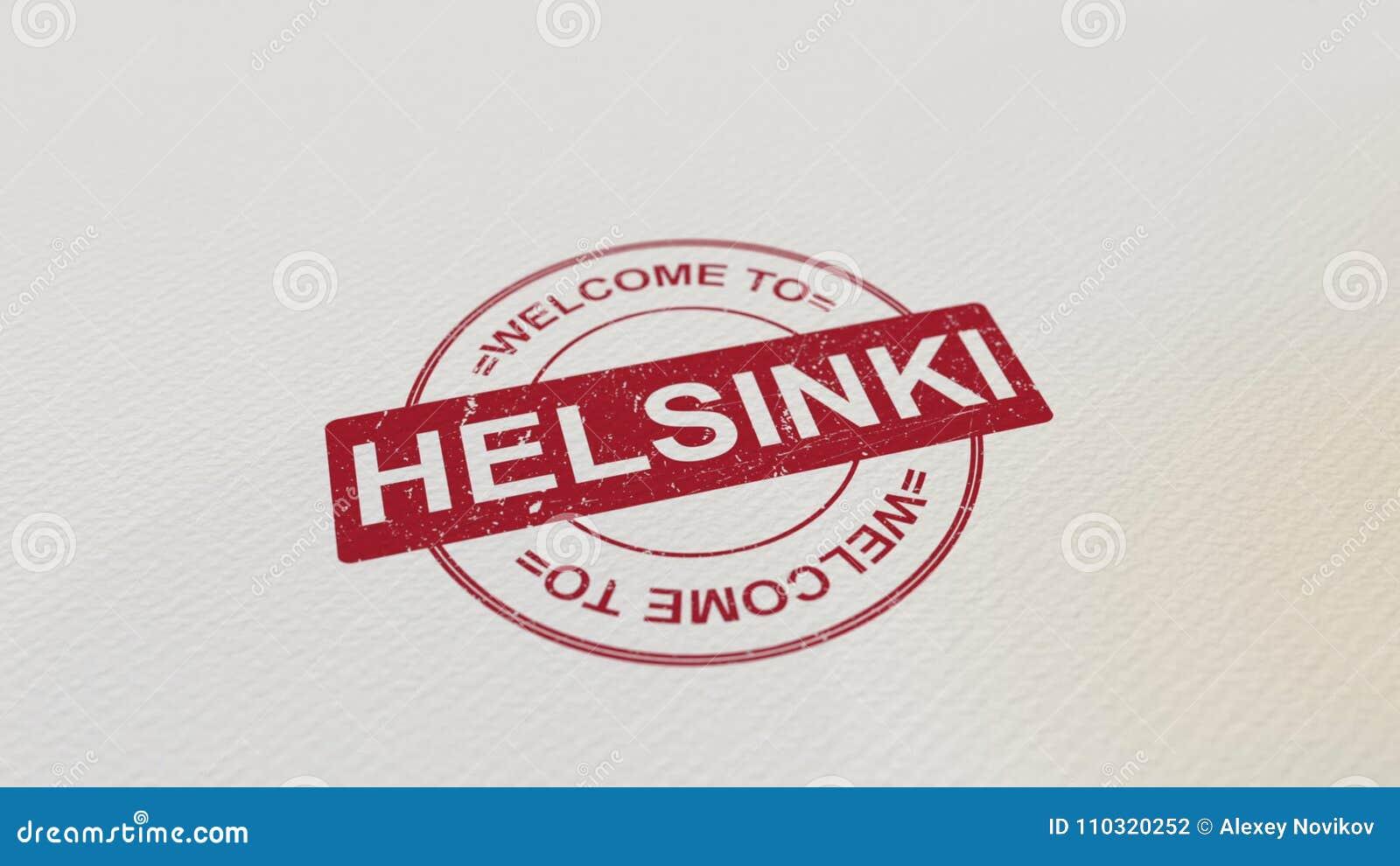 欢迎到在本文的赫尔辛基邮票红色印刷品 3d翻译