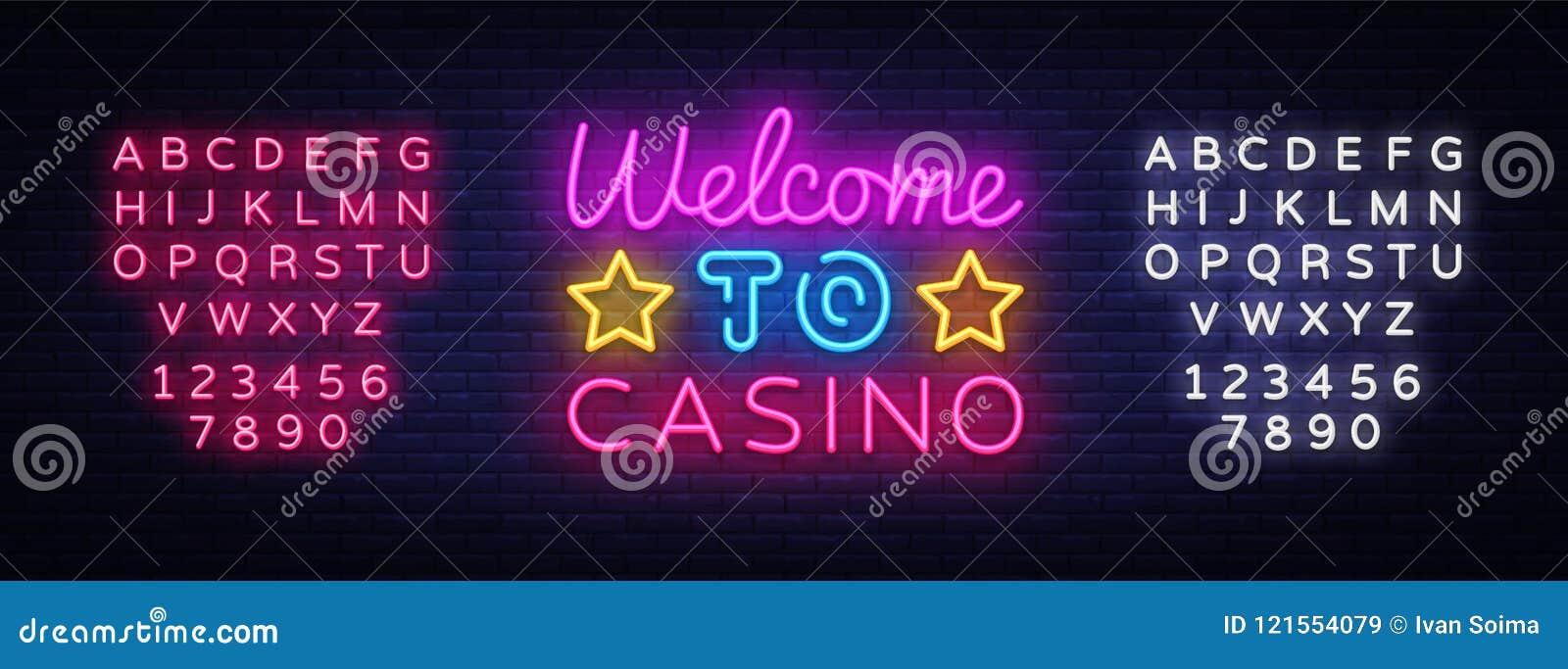 欢迎到赌博娱乐场标志传染媒介设计模板 赌博娱乐场霓虹商标,轻的横幅设计元素五颜六色的现代设计