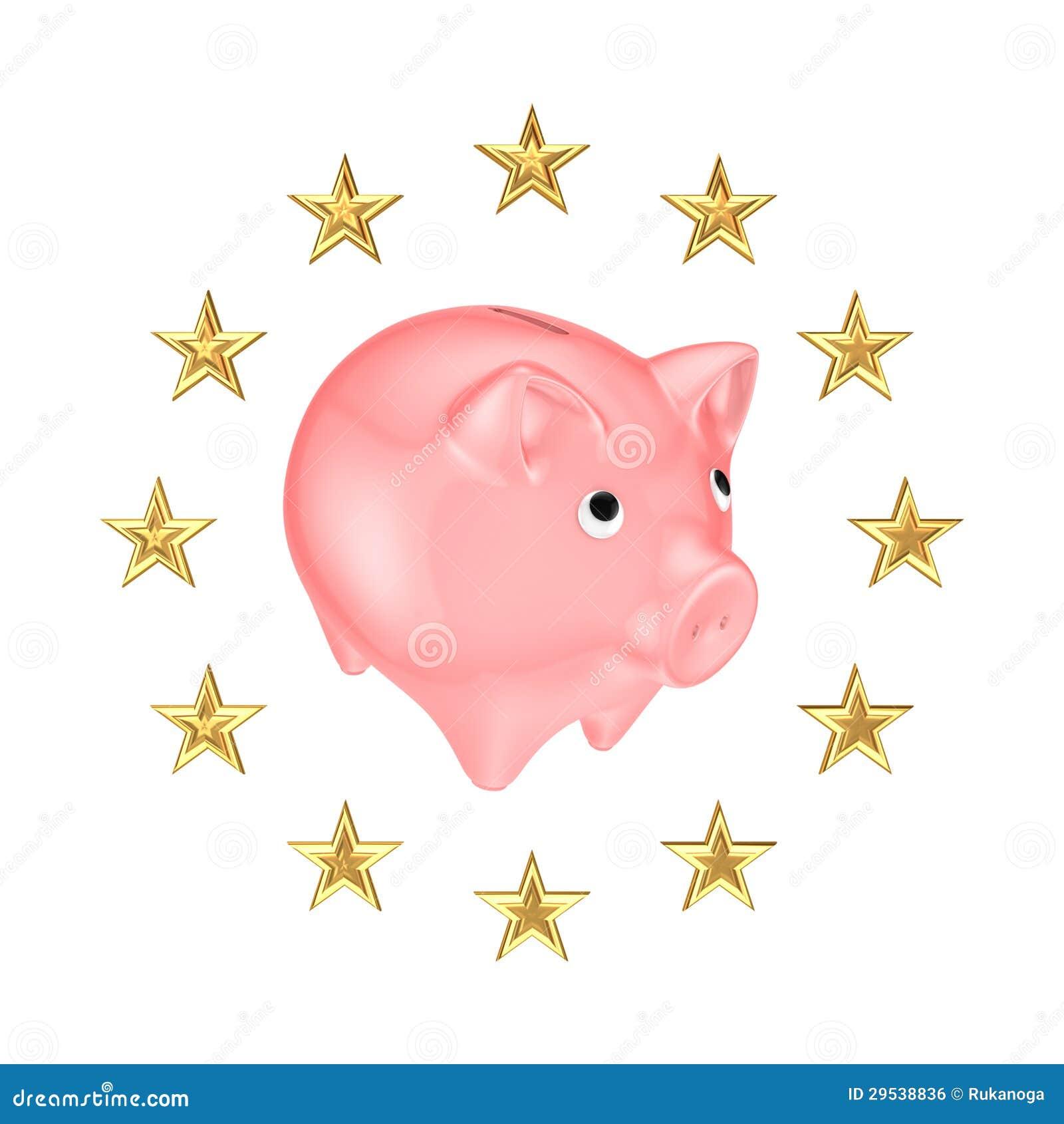 欧盟符号和存钱罐。