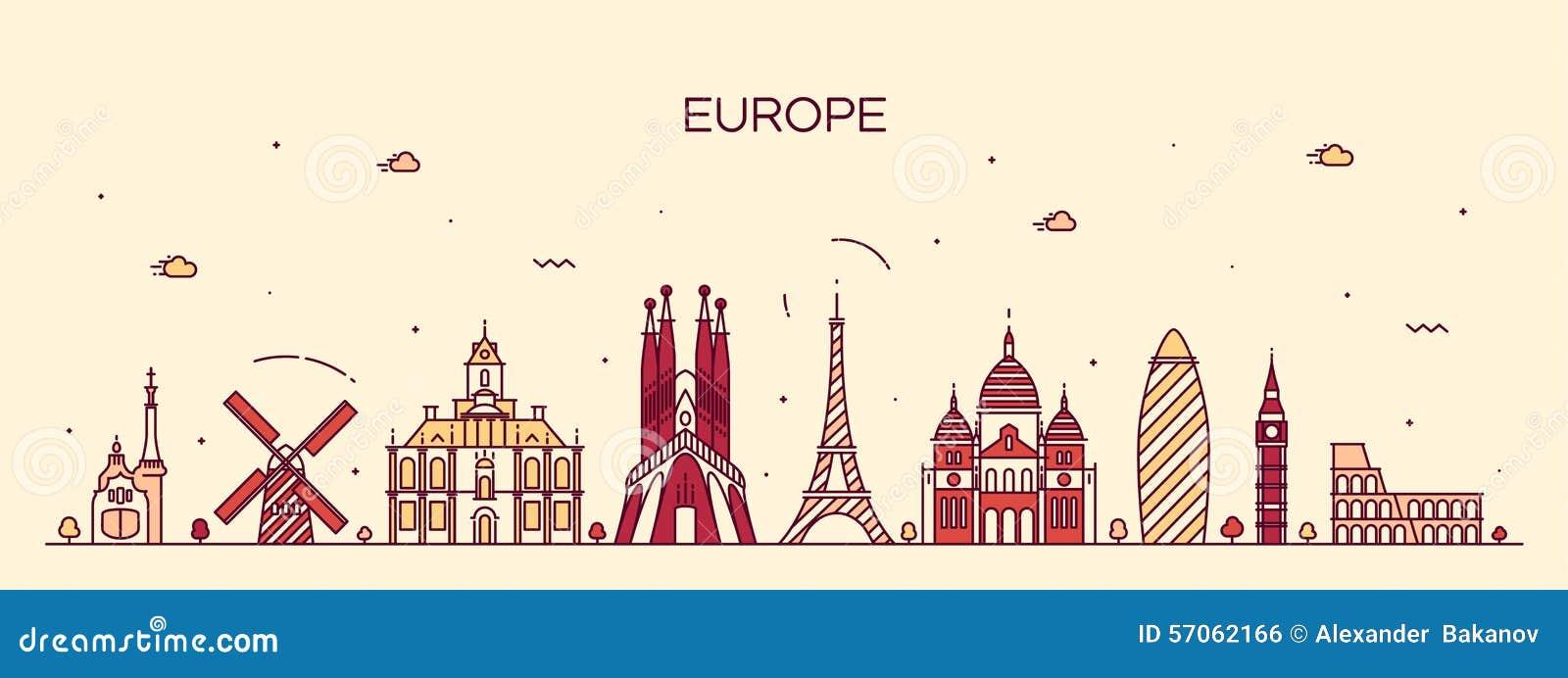 欧洲地平线详细的剪影线艺术样式