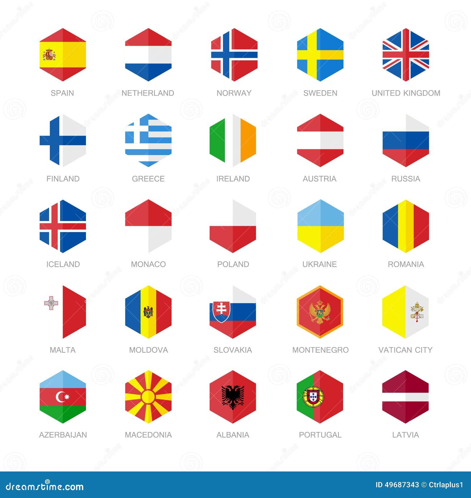 欧洲旗子象 六角形平的设计