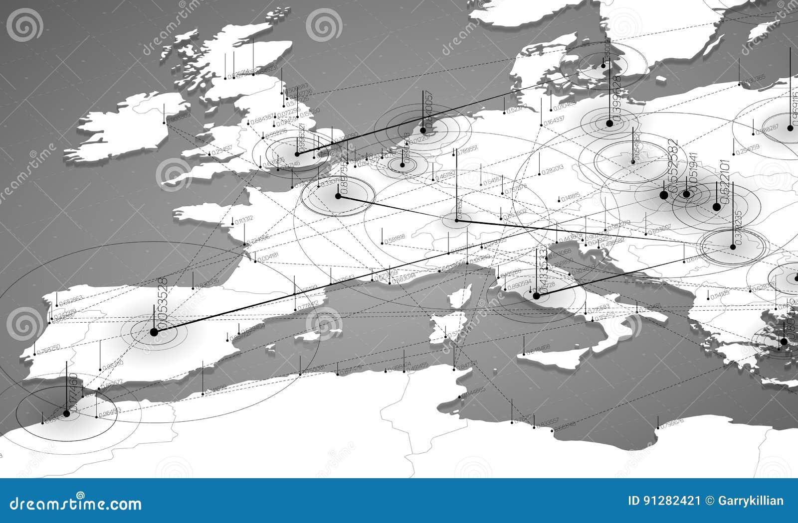 欧洲灰色极谱地图大数据形象化 infographic未来派的地图 信息美学 视觉数据复杂性