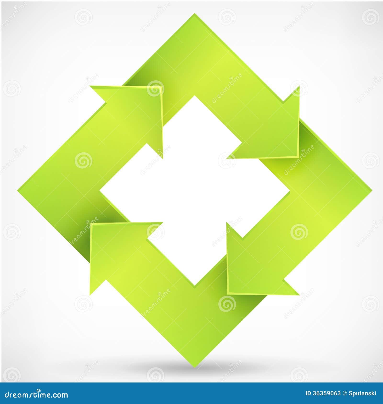 正方形转动箭头绿色商标模板