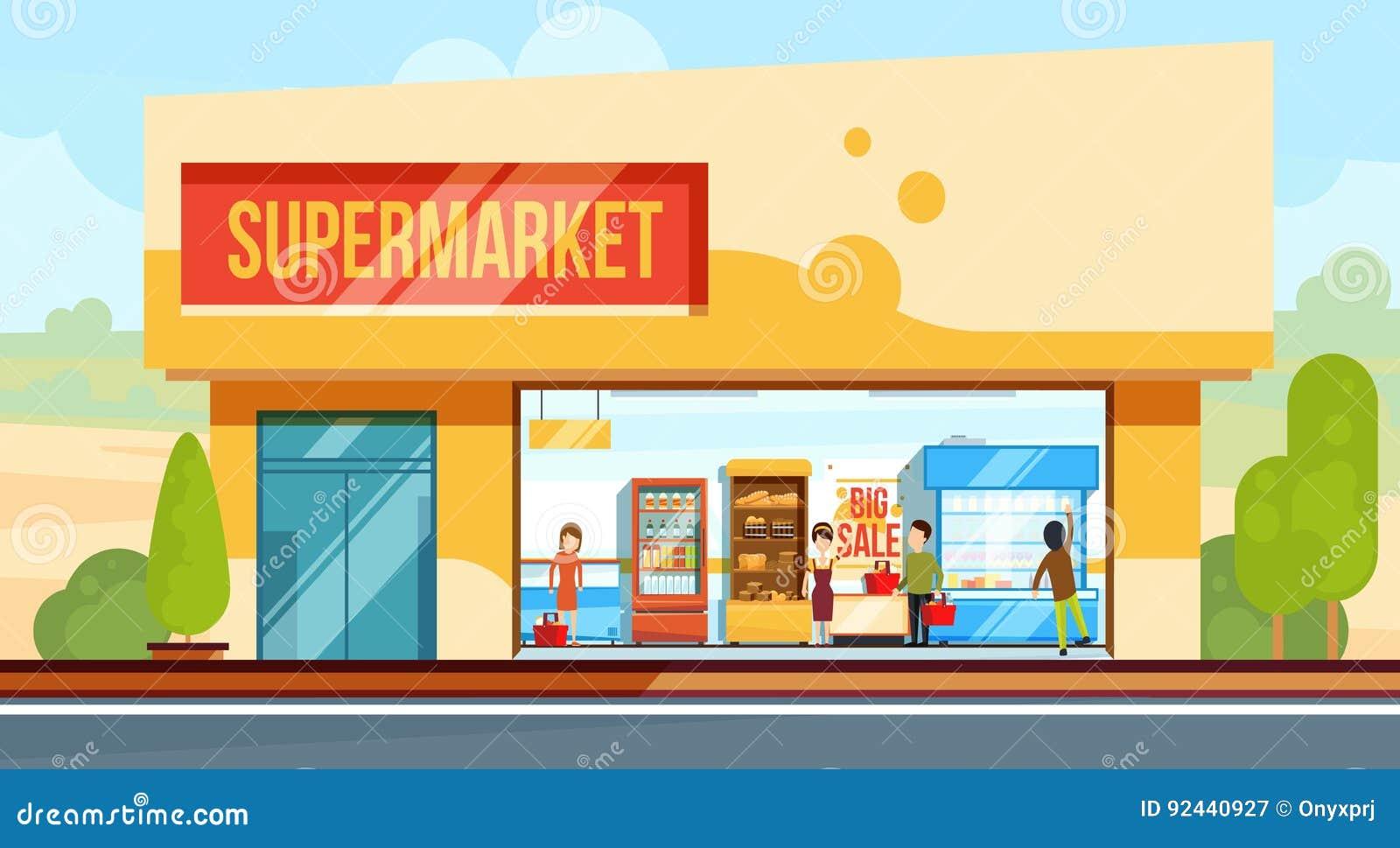 正面图的超级市场与结算离开的购物人排行 卖主助理 在平的样式的传染媒介例证