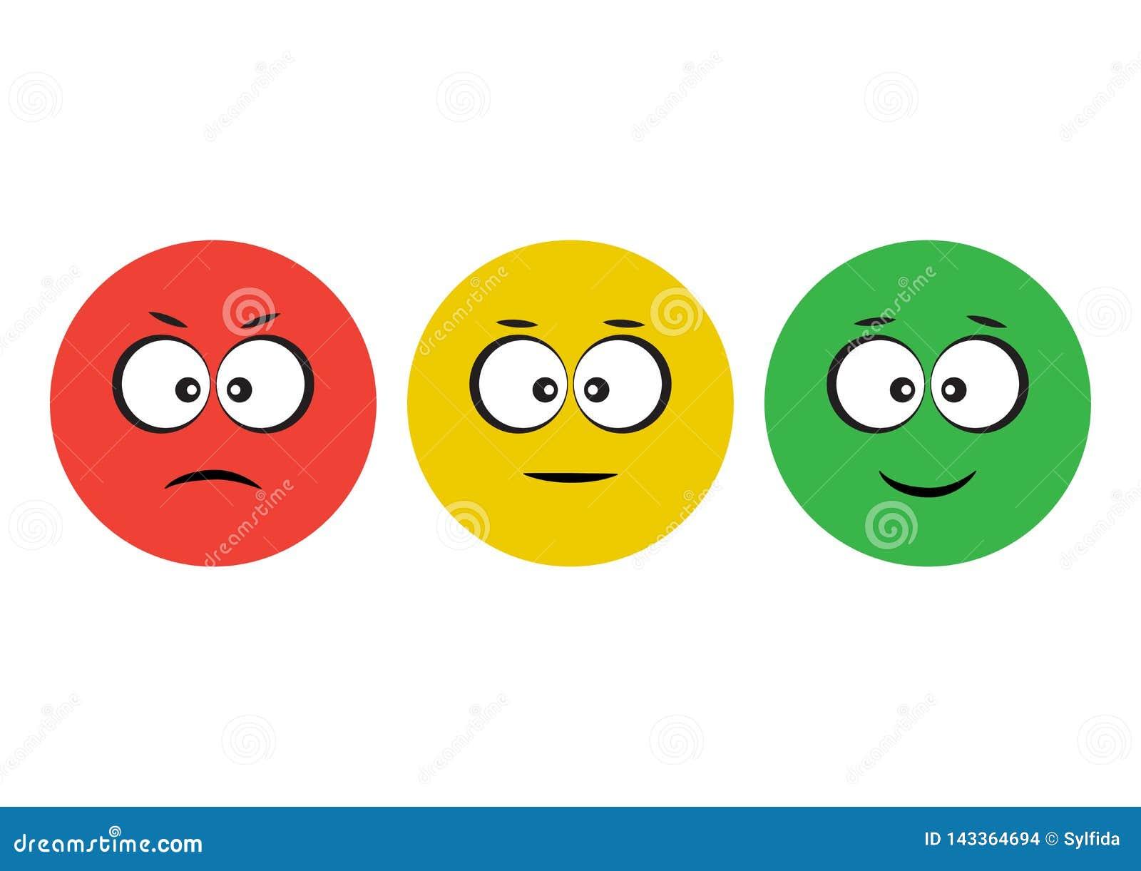 正面红色,黄色,绿色面带笑容意思号的象消极,中立和 滑稽的字符 也corel凹道例证向量