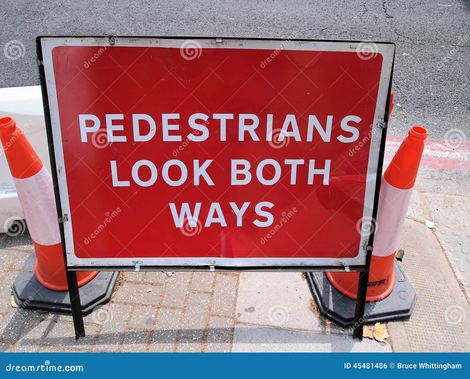 步行者看两个方式,街道工作警报信号
