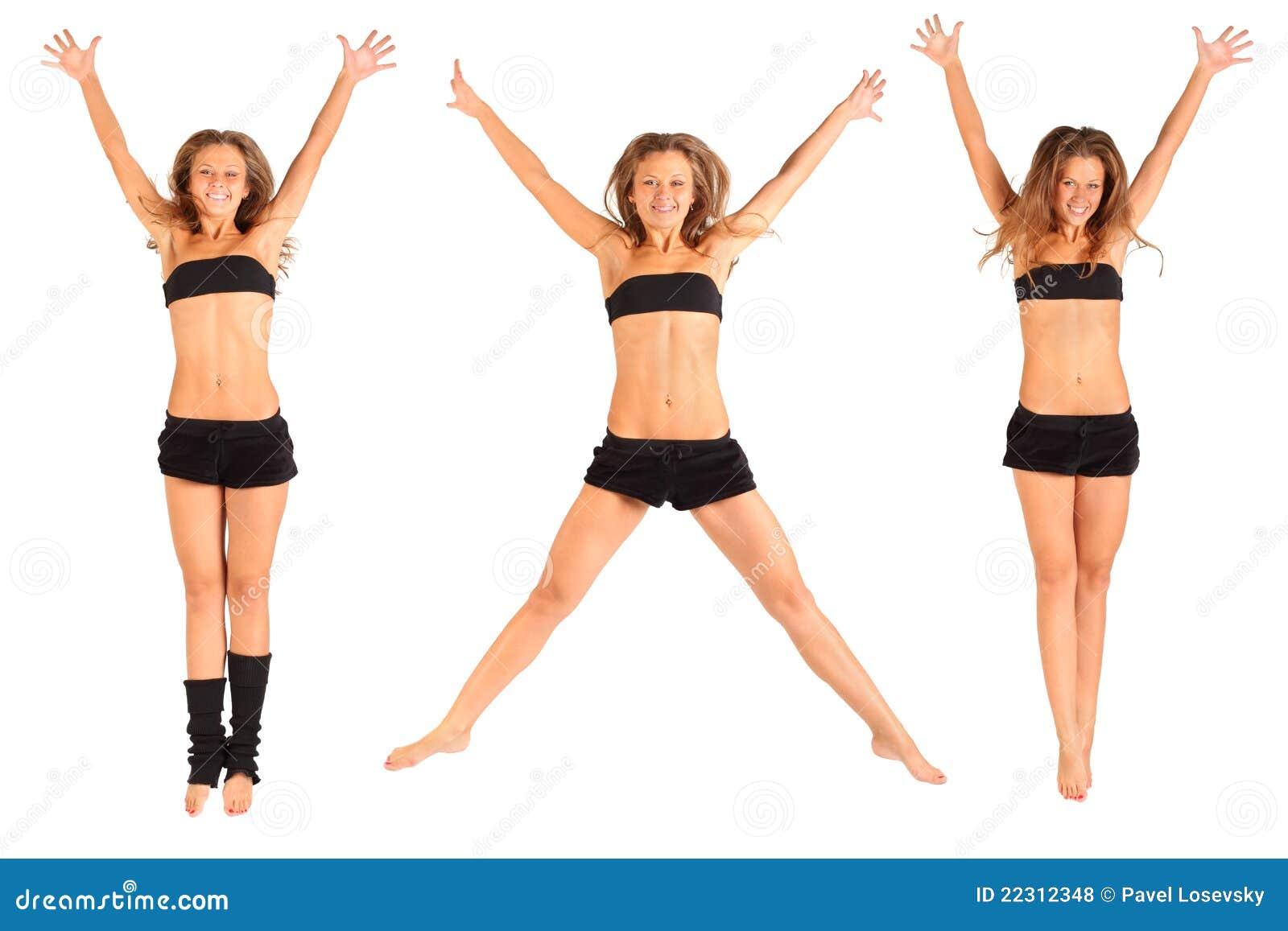 武装女孩被上升的查出的跳