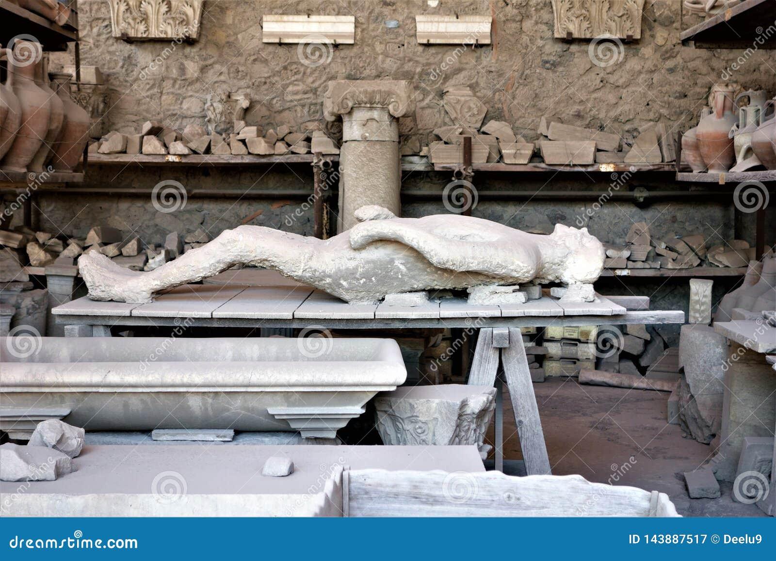 死人的遗骸在庞贝城