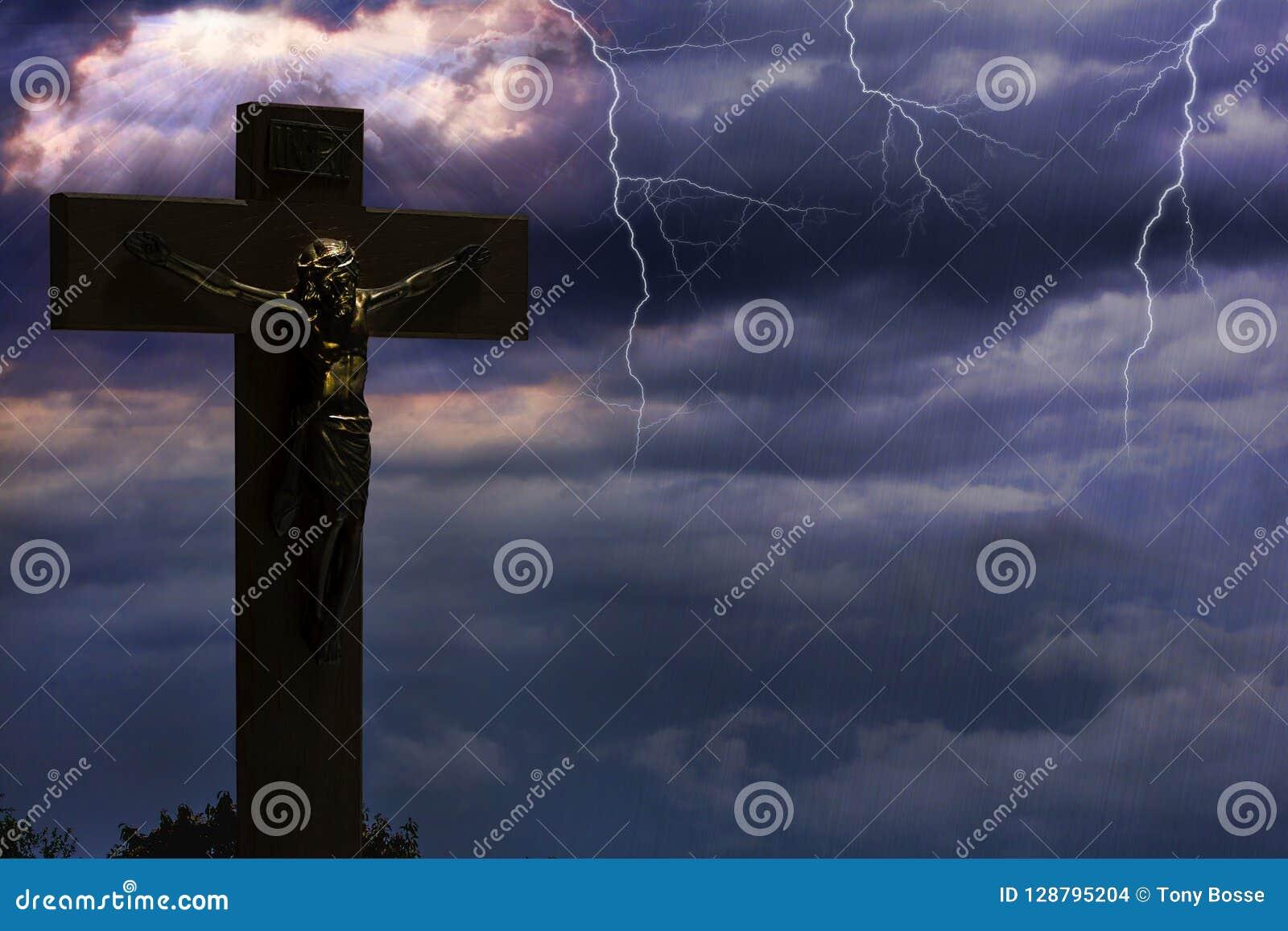 死在发怒和登高对天堂的耶稣