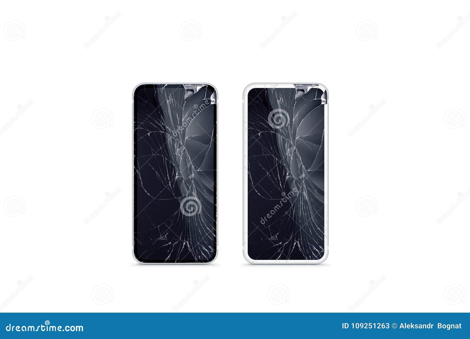 残破的手机屏幕大模型,黑白,正面图