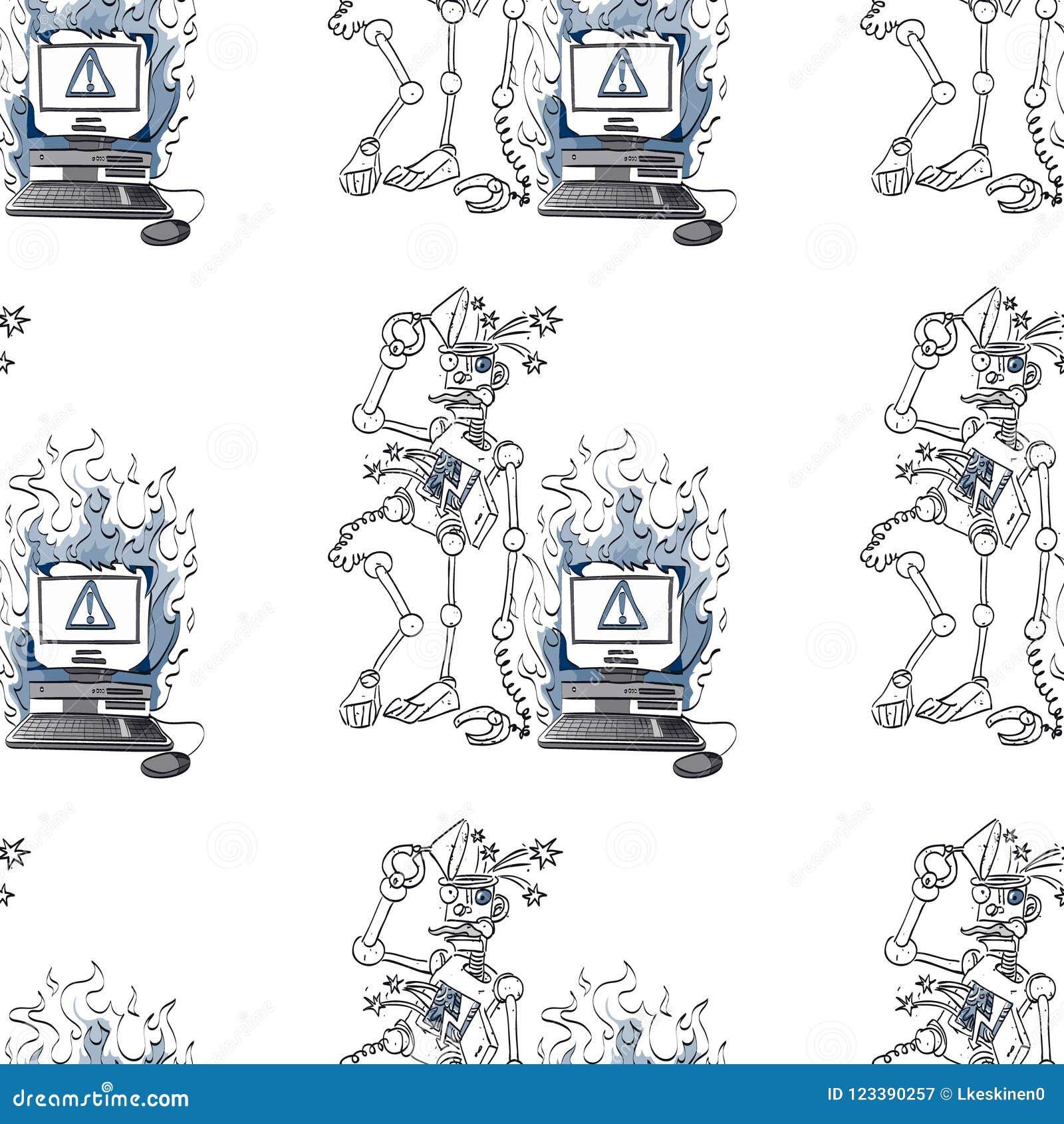 残破的机器人和残破的计算机无缝的样式