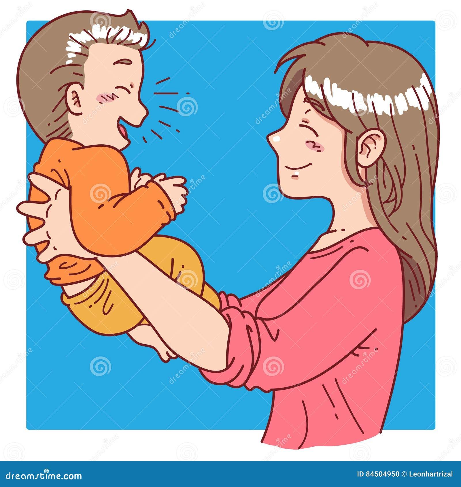 母亲拿着她的儿子