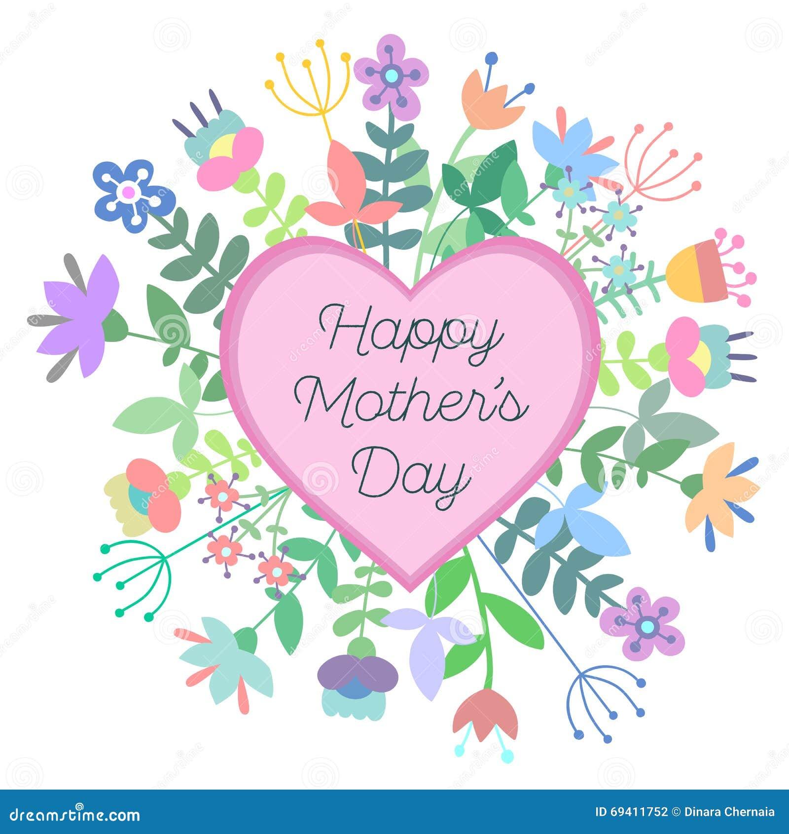 母亲节与花的贺卡 也corel凹道例证向量