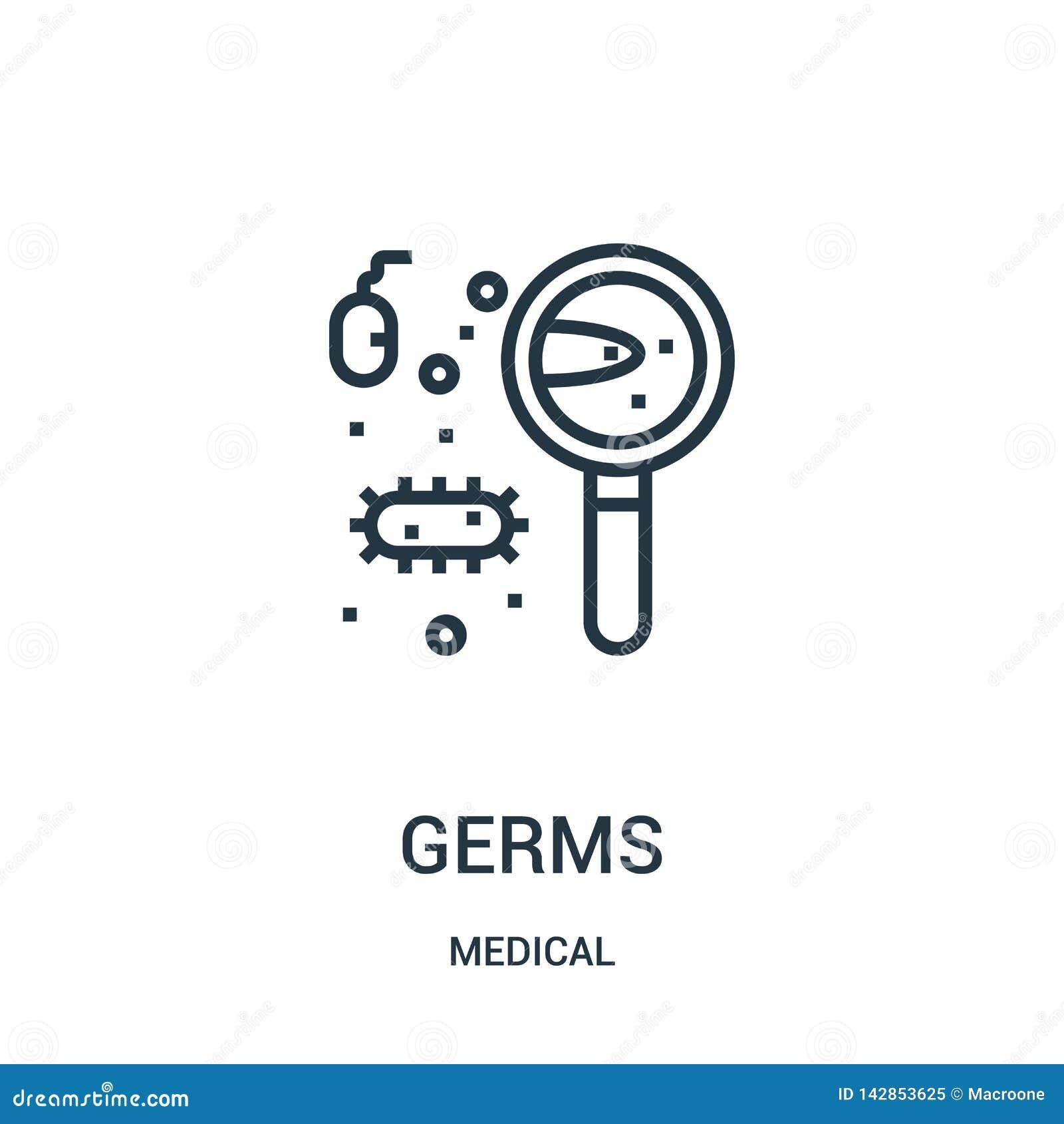 毒菌从医疗收藏的象传染媒介 稀薄的线毒菌概述象传染媒介例证 线性标志为在网的使用和