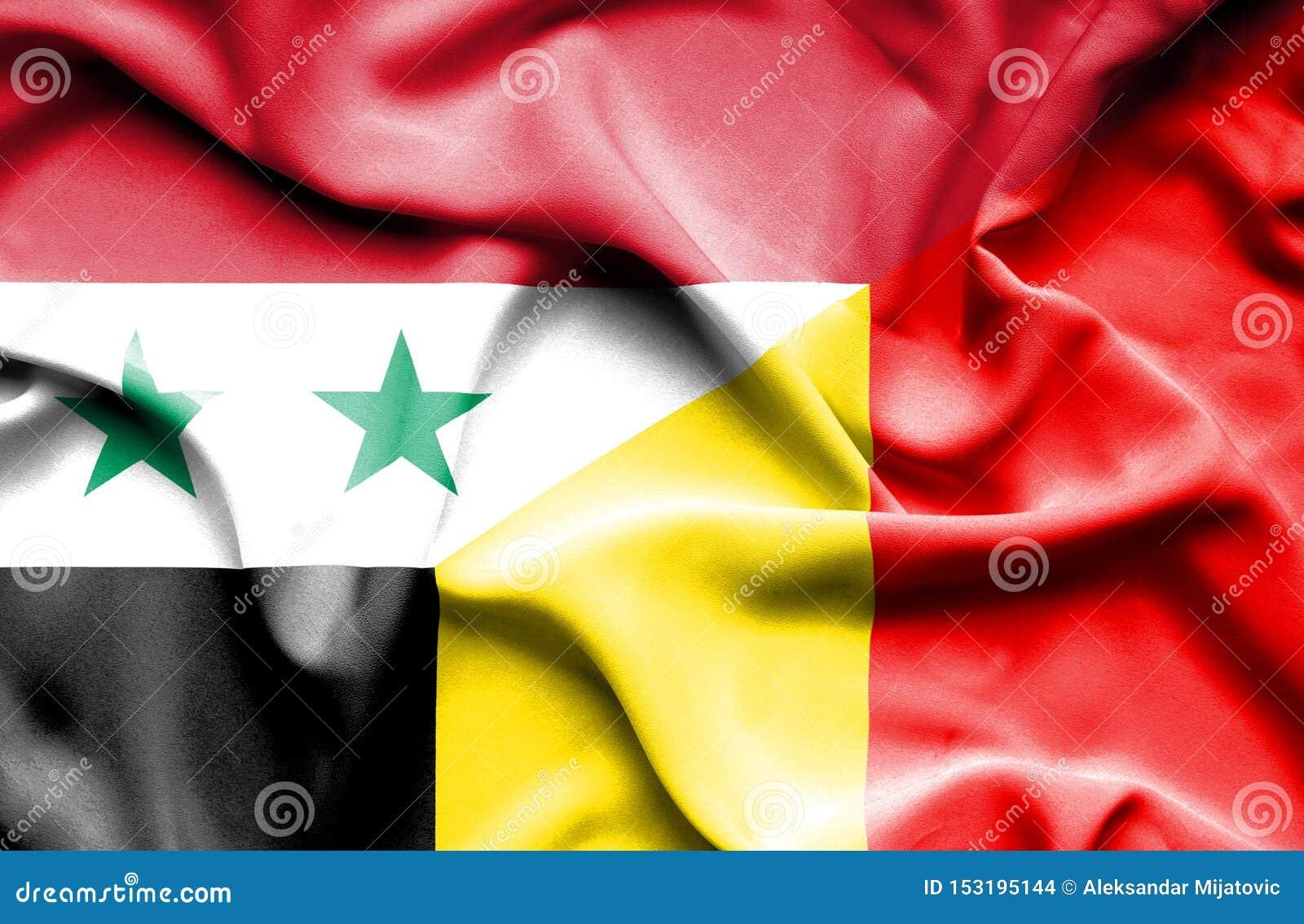 比利时和叙利亚的挥动的旗子