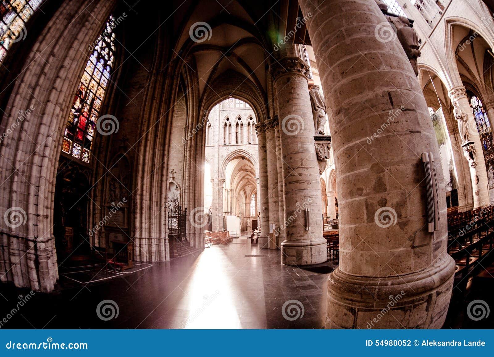 比利时布鲁塞尔大教堂gudula迈克尔st 残酷