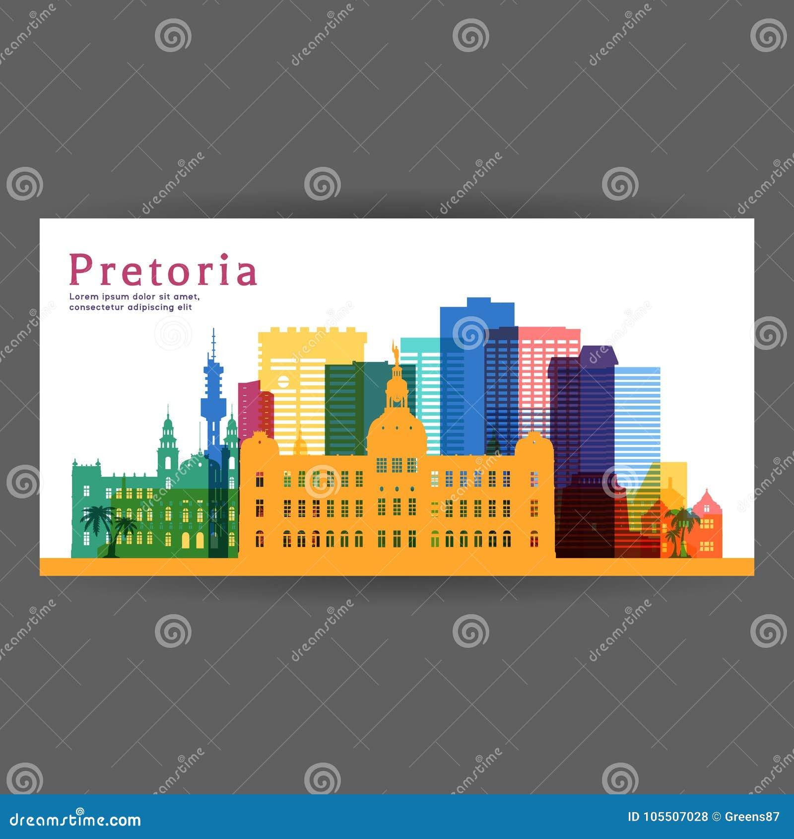 比勒陀利亚五颜六色的建筑学传染媒介例证