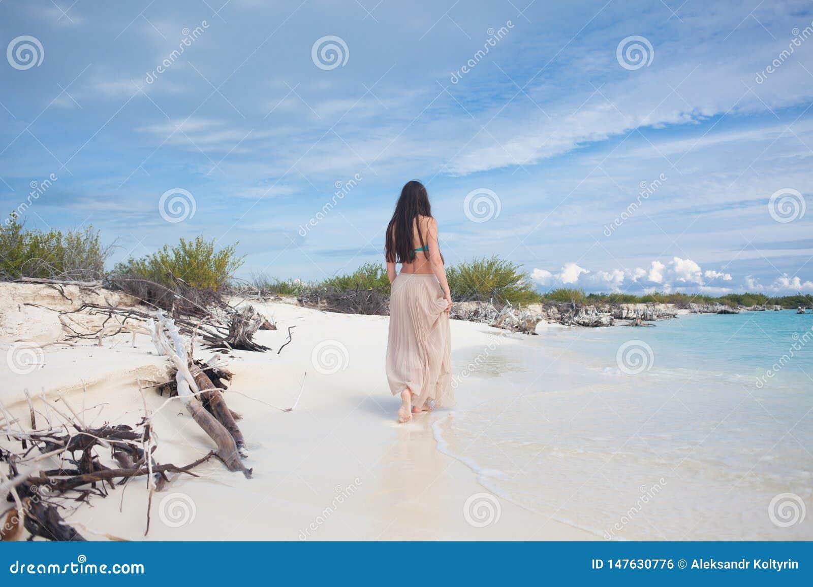 比基尼泳装和长的裙子的年轻可爱的妇女 美女享用夏天太阳