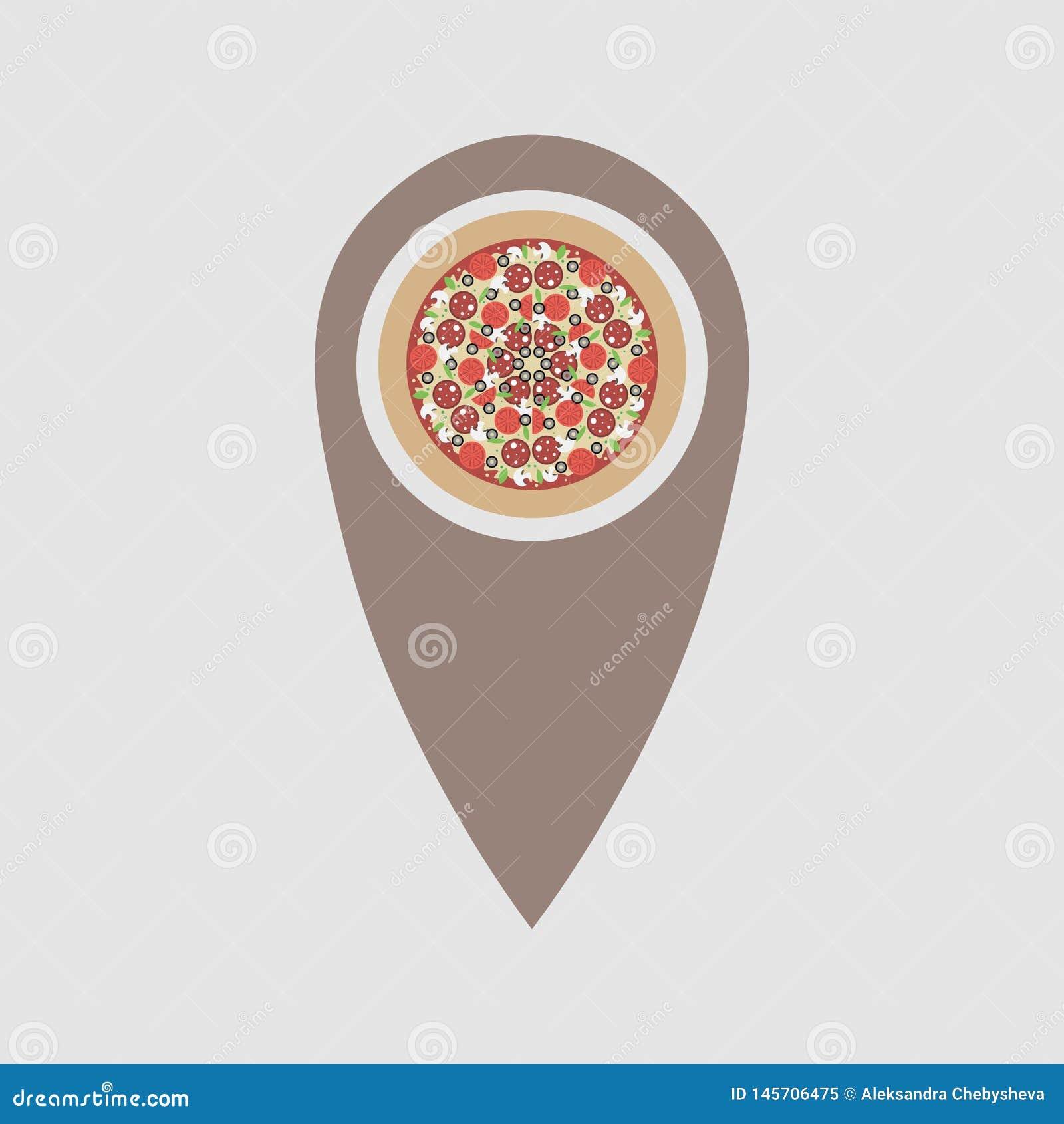 比萨地点 指向地图的比萨标志 意大利料理餐馆标志