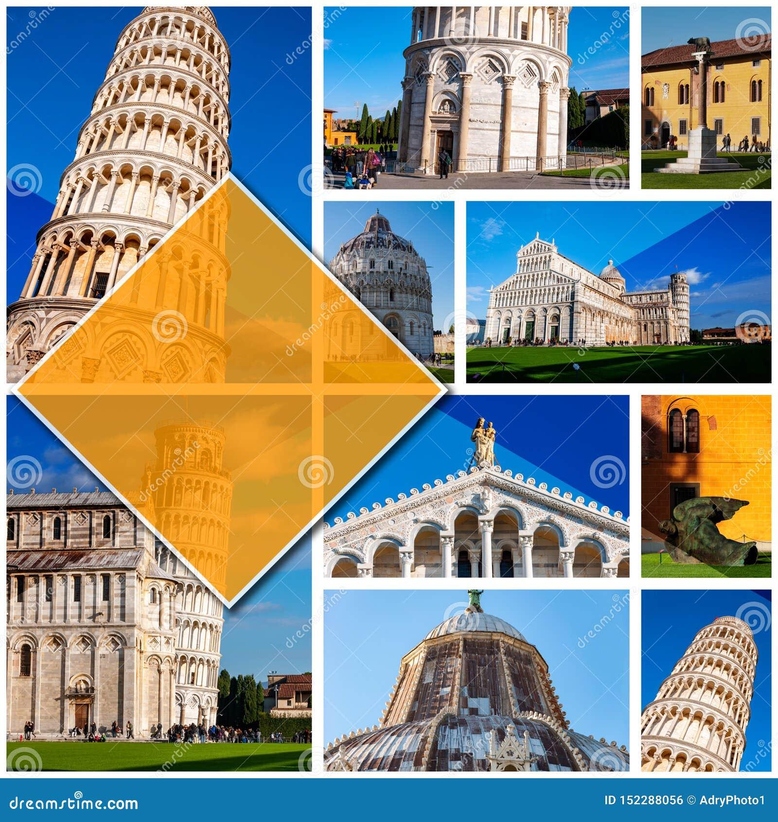 比萨-意大利的拼贴画照片,以1:1格式 斜塔在奇迹广场 联合国科教文组织举世闻名的站点,被找出