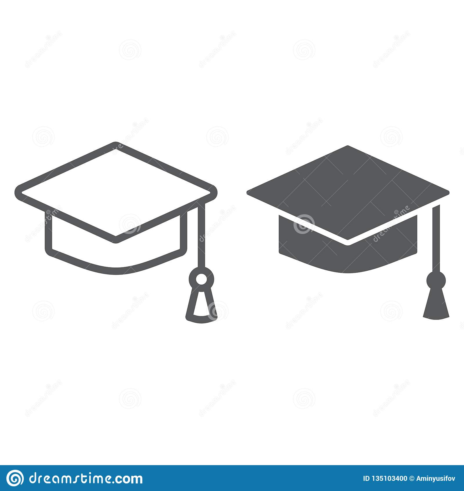 毕业盖帽线和纵的沟纹象、学校和教育,大学帽子标志向量图形,在a的一个线性样式