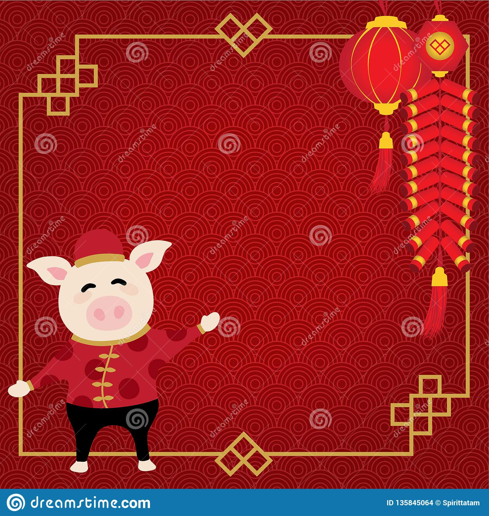 毗邻农历新年并且有猪、灯笼和爆竹有红色样式背景