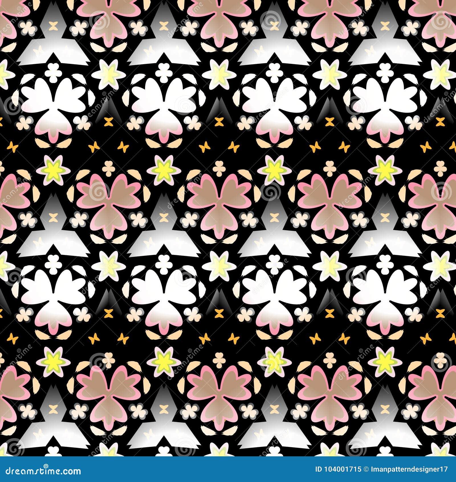 毗邻在米黄,黄色的无缝的几何花卉传染媒介样式,白色和黑色