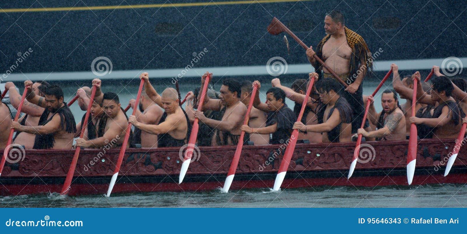 毛利人waka遗产航行在奥克兰,新西兰