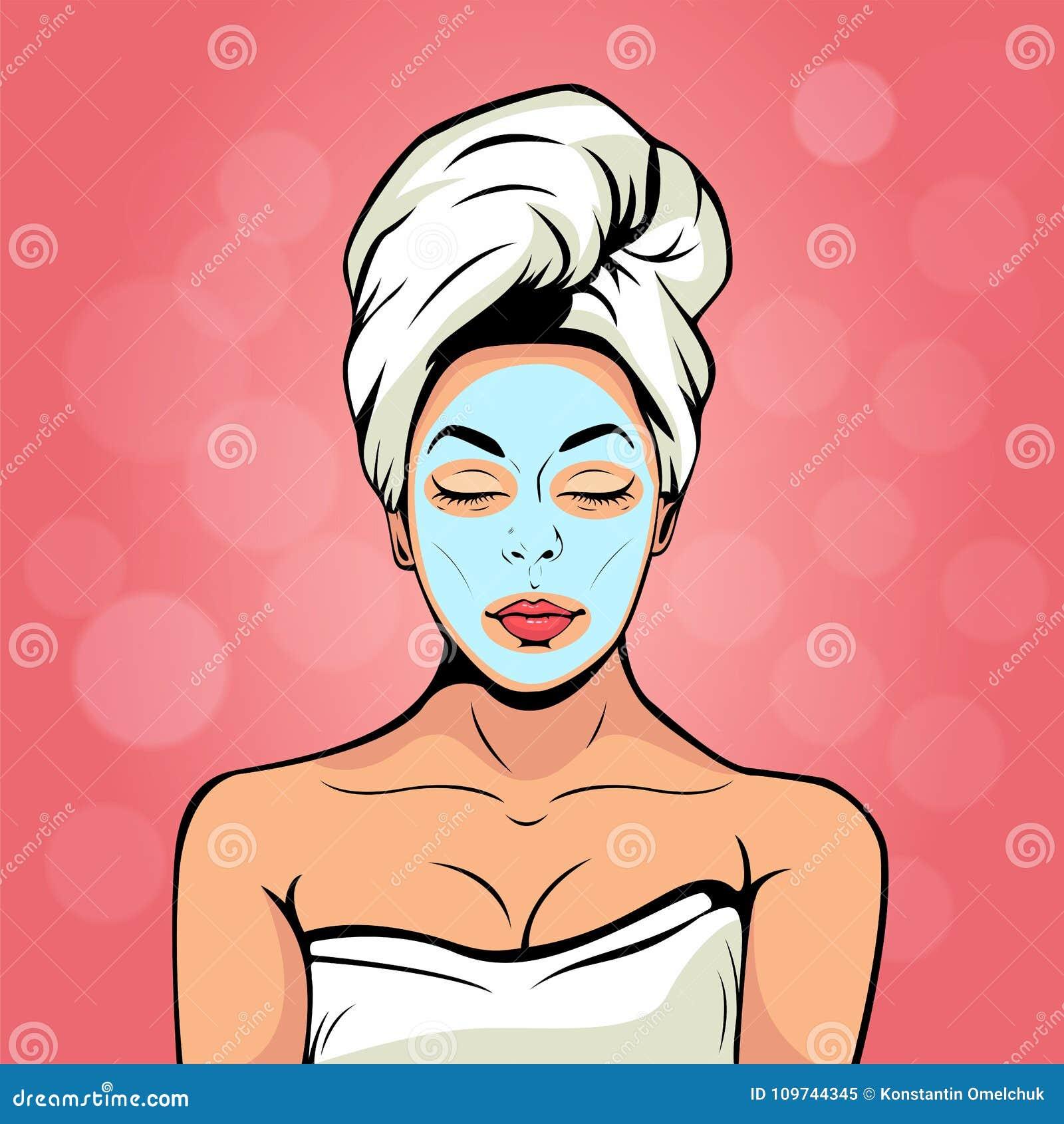 毛巾的性感的少妇与在她的面孔的化妆面具 流行艺术传染媒介例证