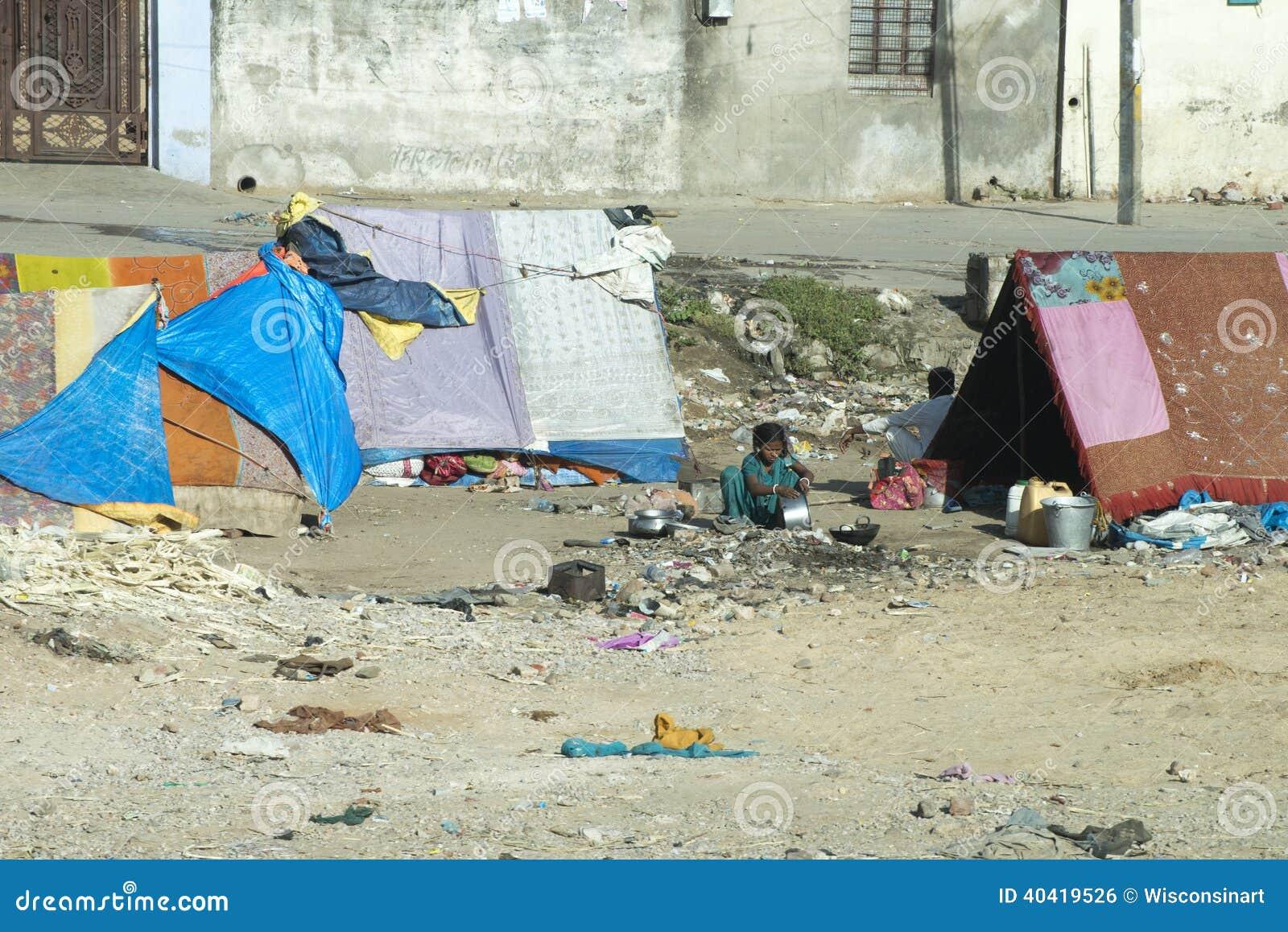 贫民窟阵营、贫寒和贫穷在印度