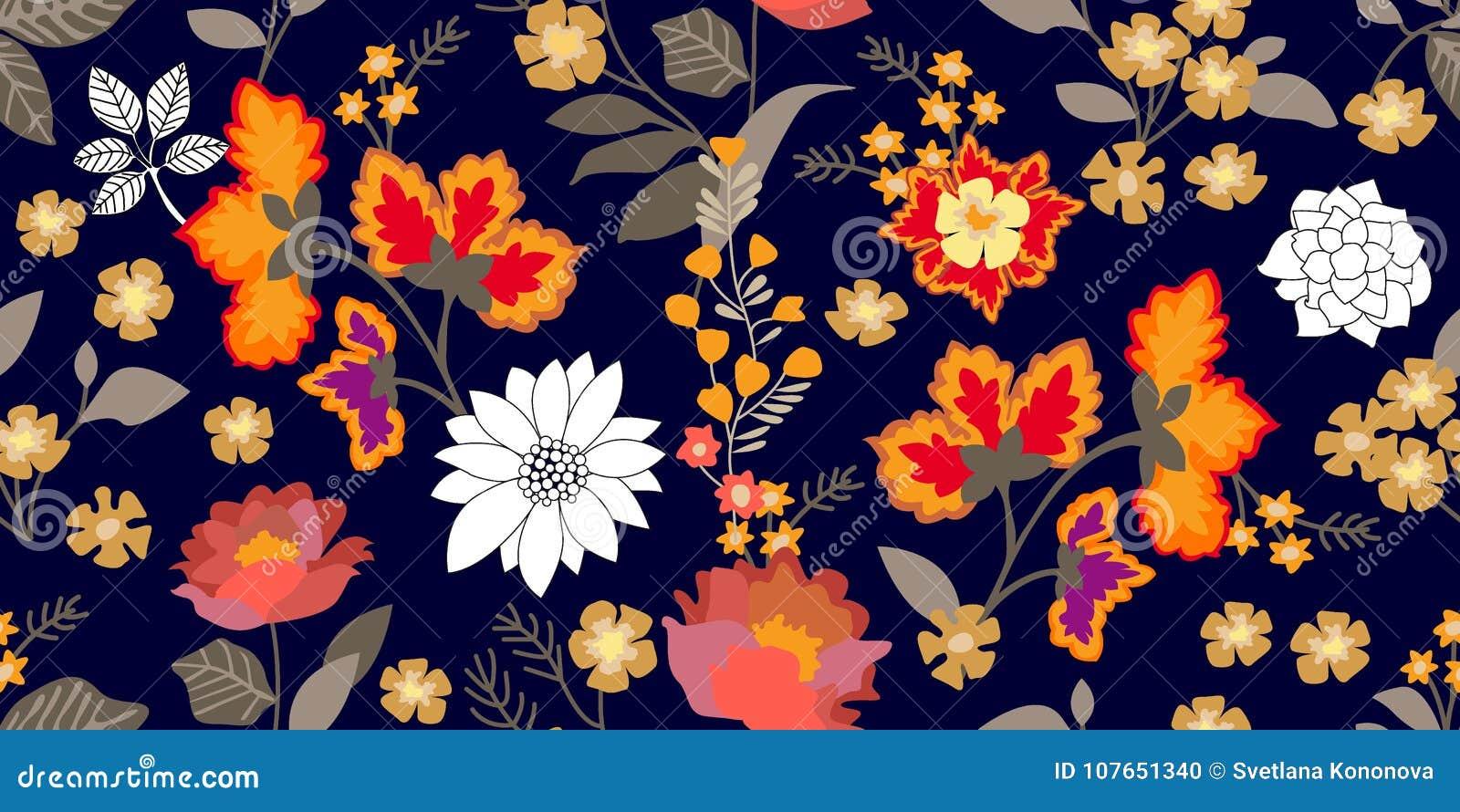 民间艺术样式边界 与开花的花和灰色叶子的无缝的花卉样式