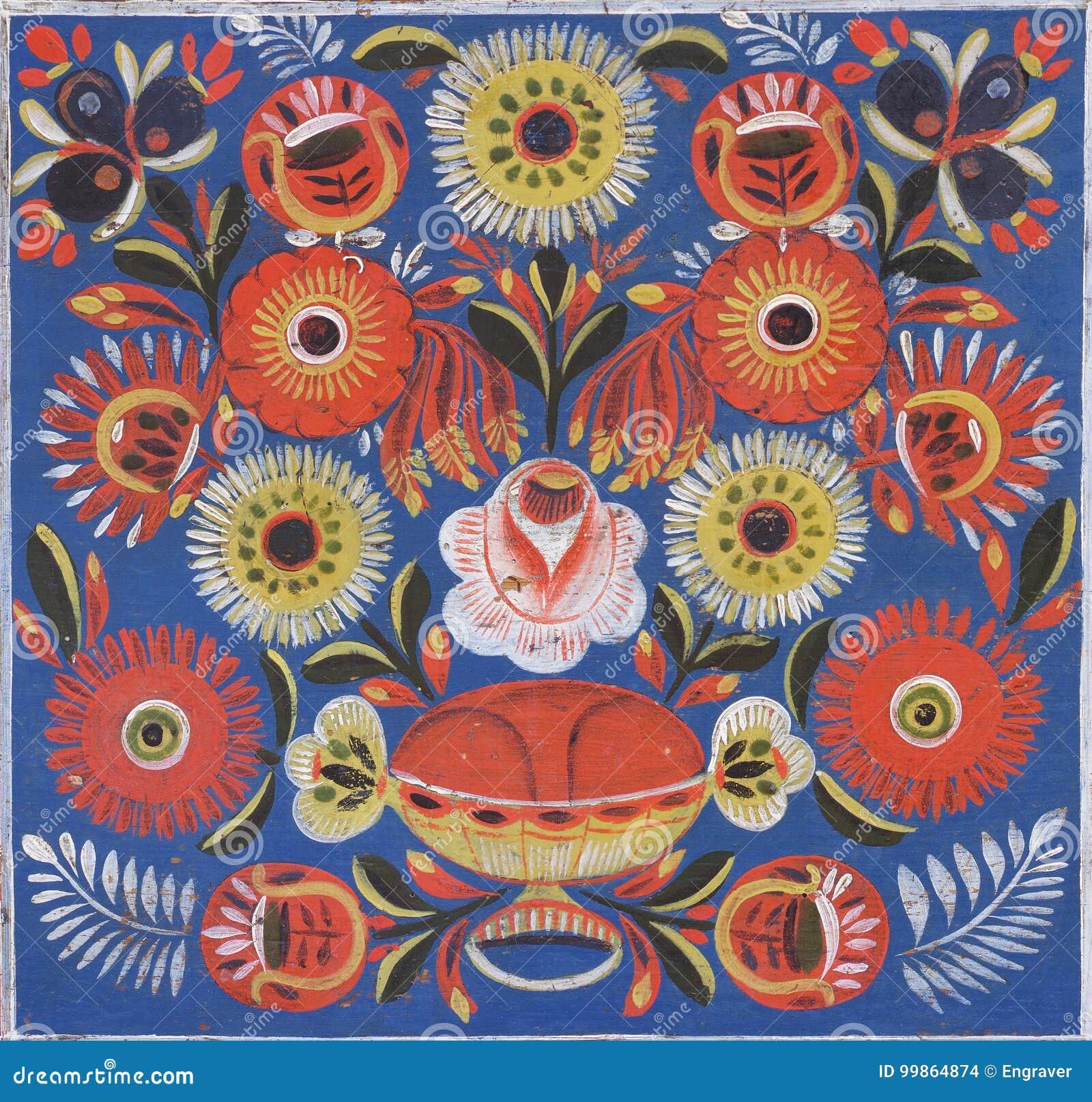 民间装饰被绘的花卉样式