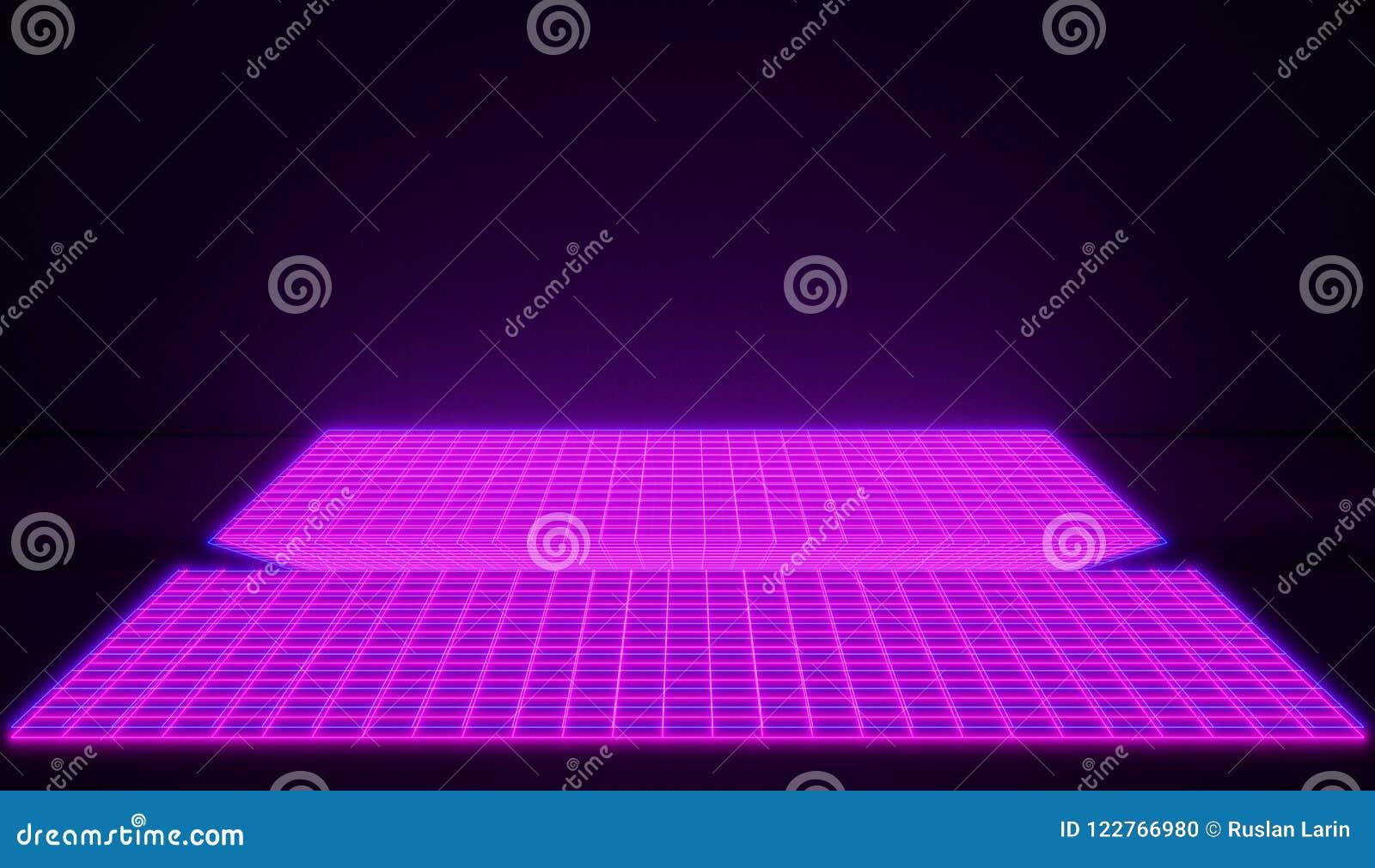 氖发光的桃红色计算机控制学的空间在减速火箭的样式背景中 明亮的桃红色版本