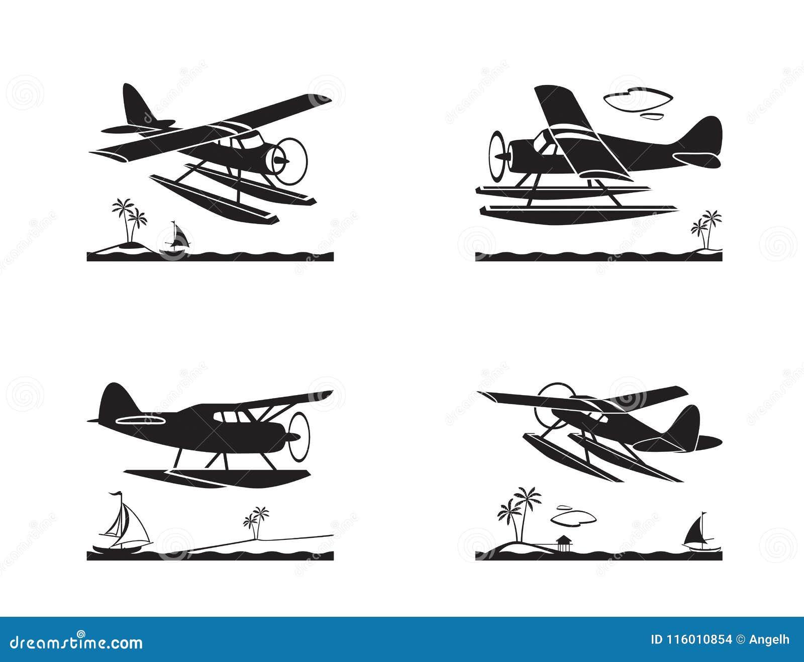 水上飞机在飞行中在海