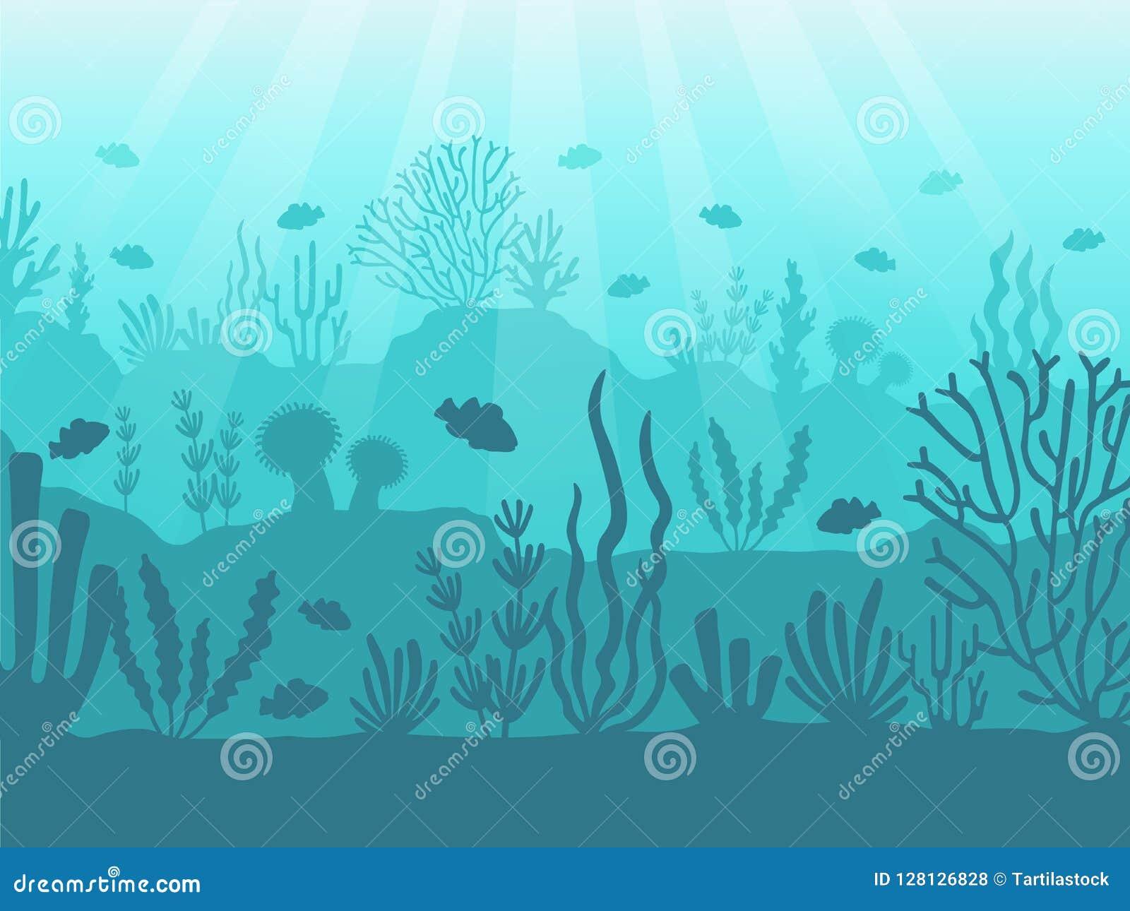 水下的海景 海洋珊瑚礁、深海底部和游泳在水下 海洋珊瑚背景传染媒介