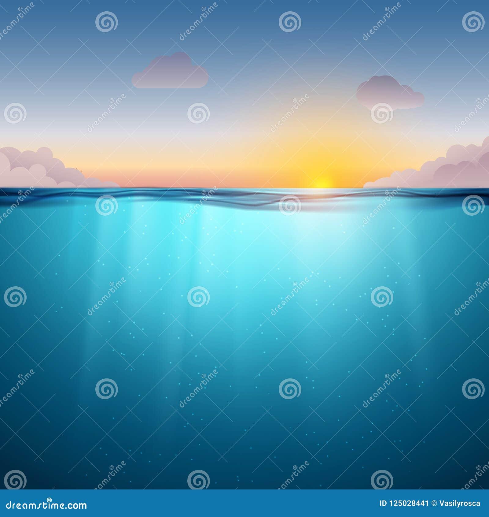 水下的海洋表面 大海背景和日落 清洗自然海水下的背景与天空