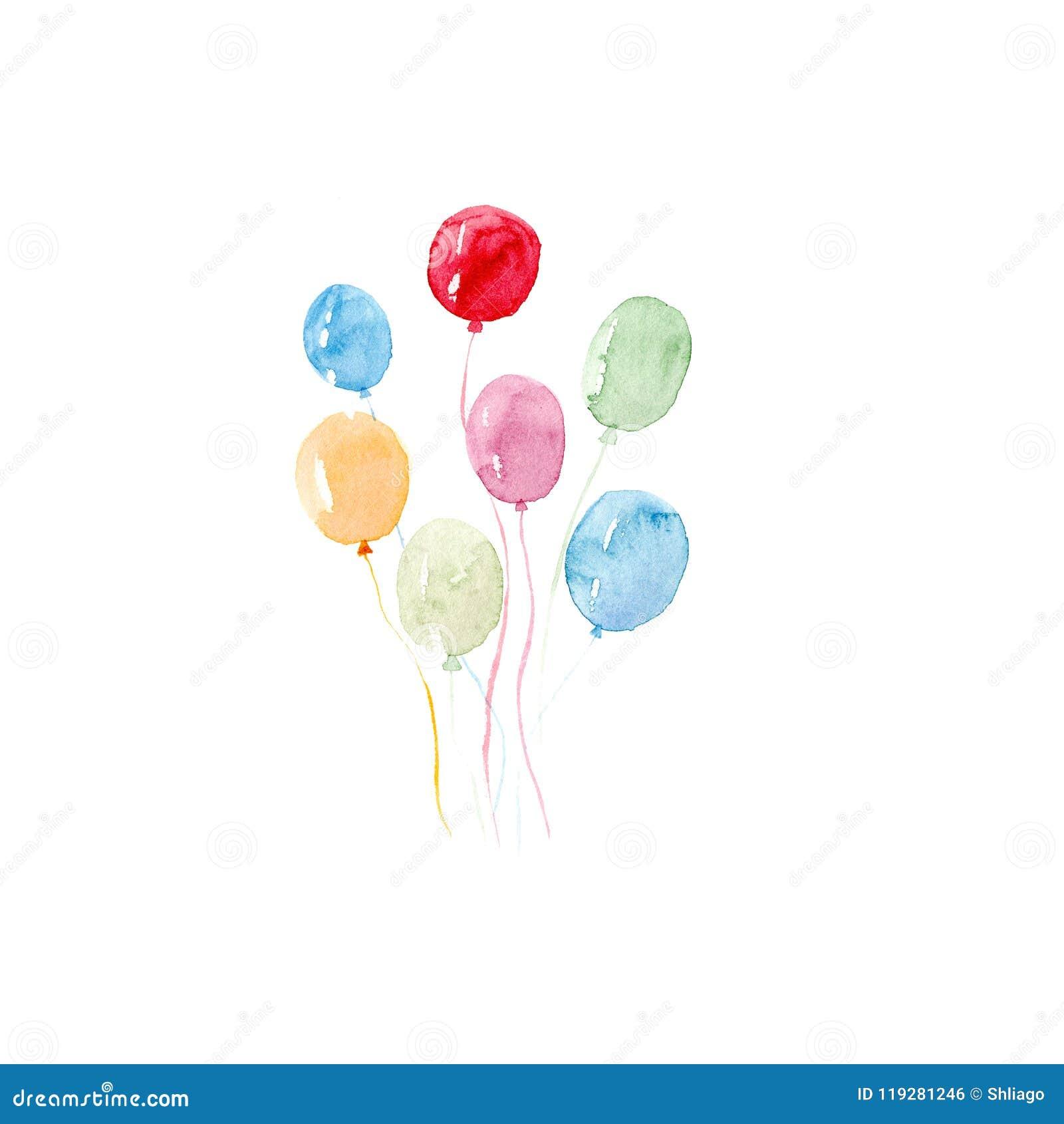 水彩五颜六色的假日剪影气球在白色背景设置了特写镜头被隔绝