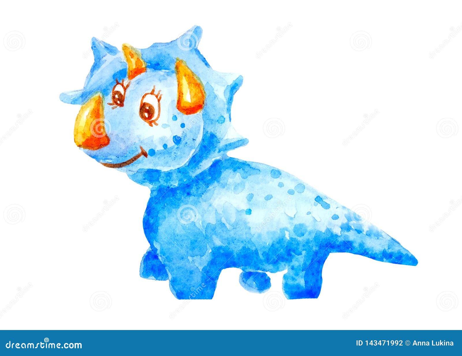 水彩亲切的恐龙triceraptors微笑和友好在被隔绝的白色背景