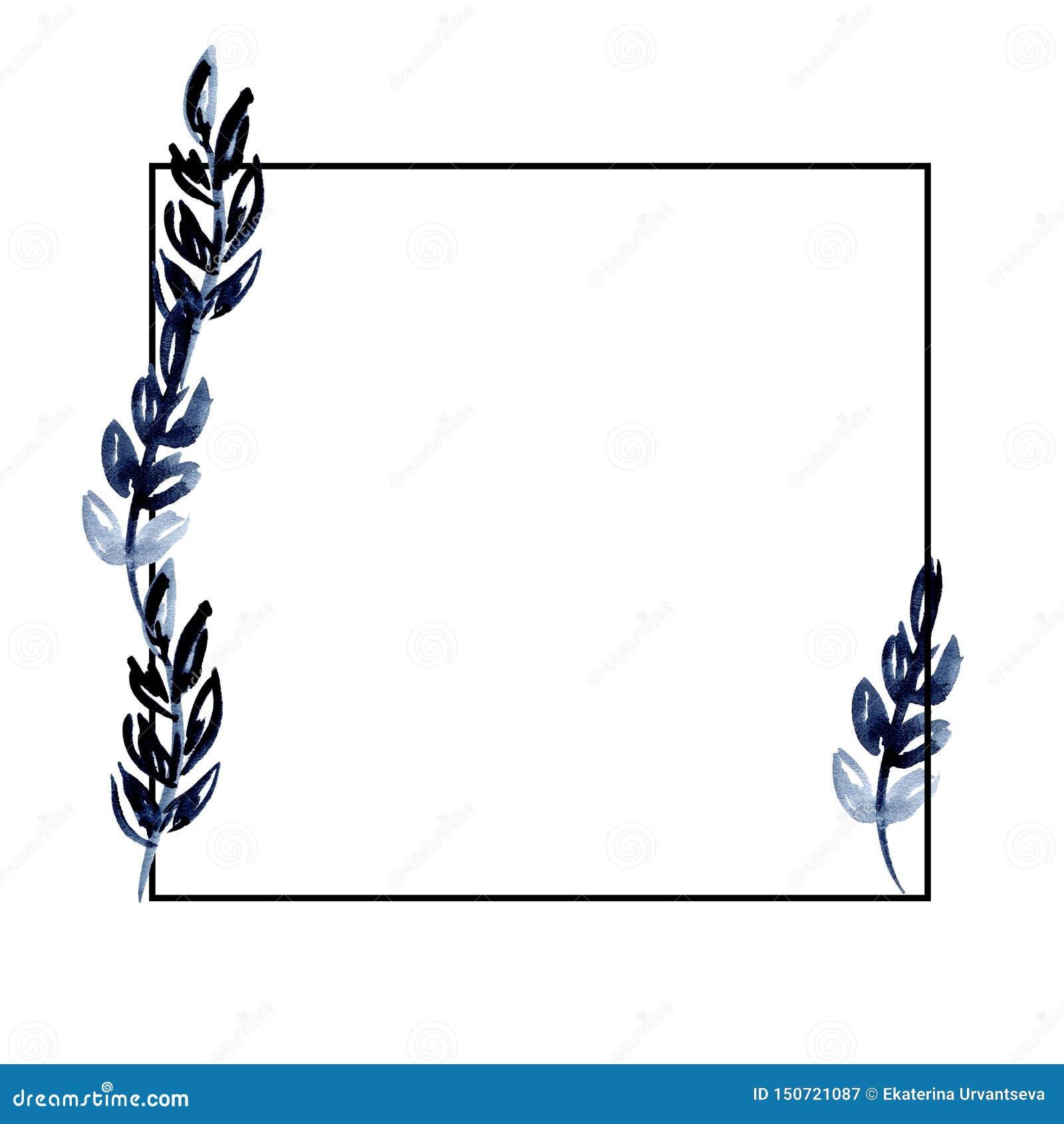 水彩例证与靛蓝叶子的黑角规框架 对设计,邀请婚礼,贺卡