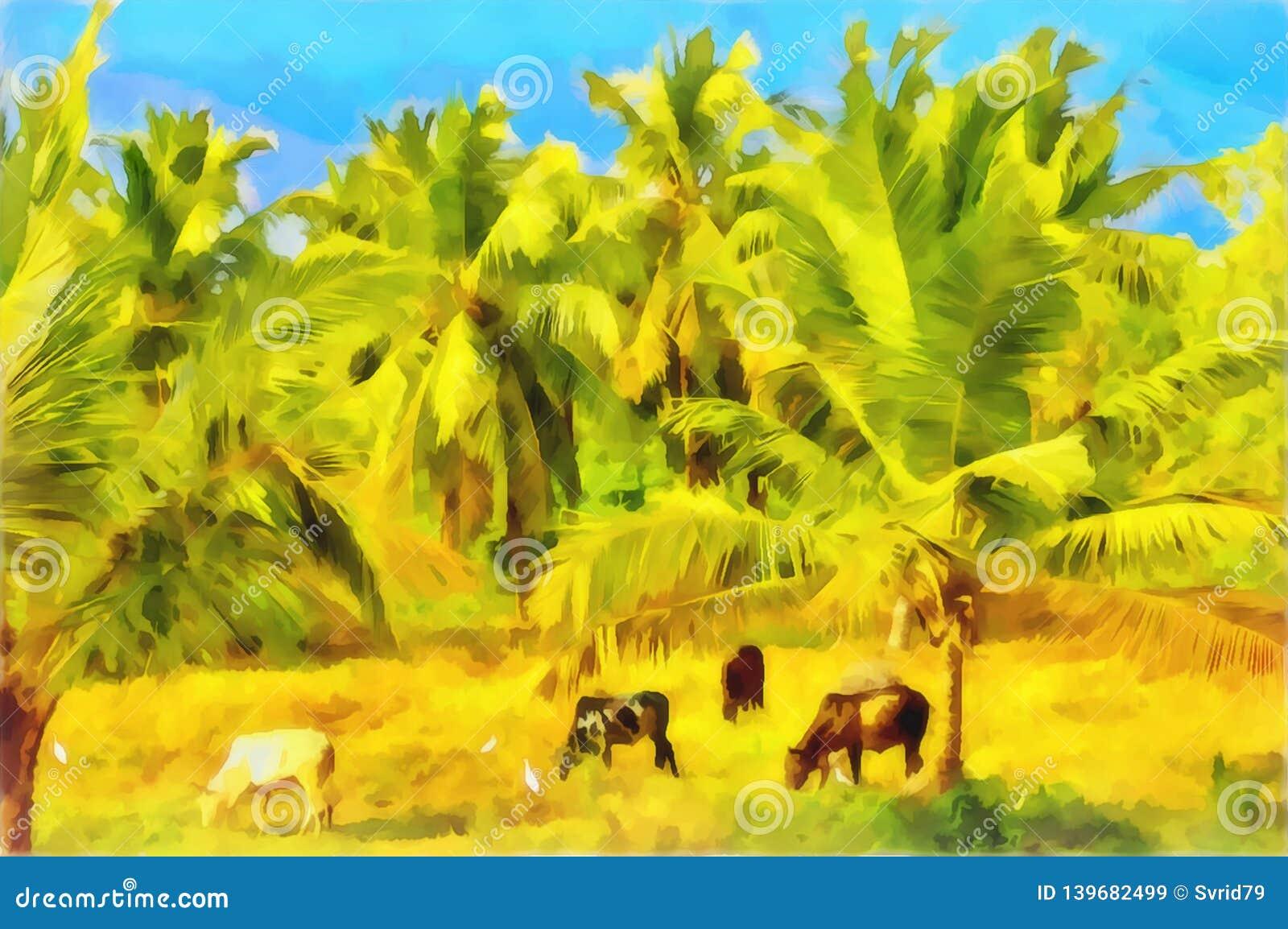 水彩农村风景 印第安村庄