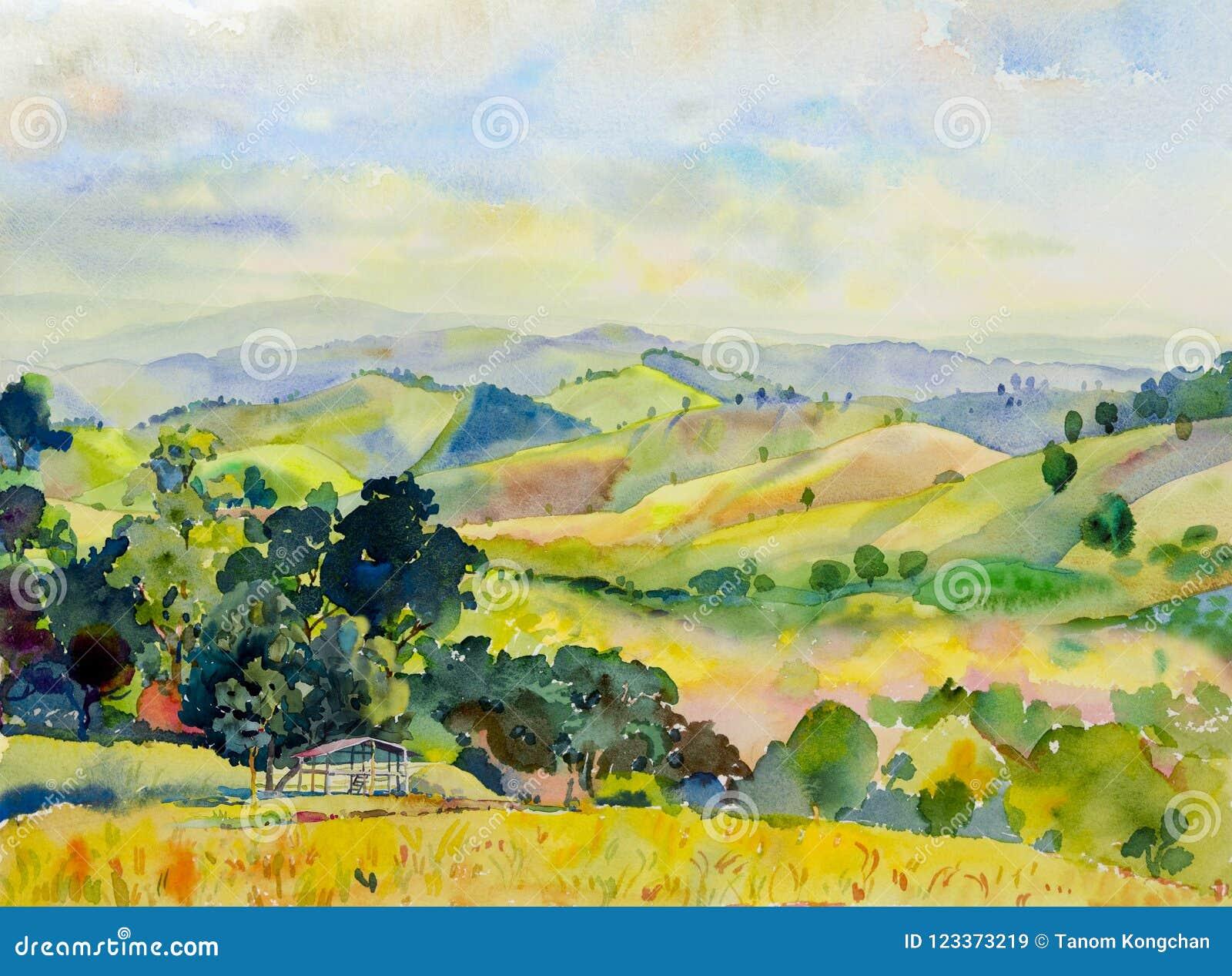 水彩山脉山水画与村庄的