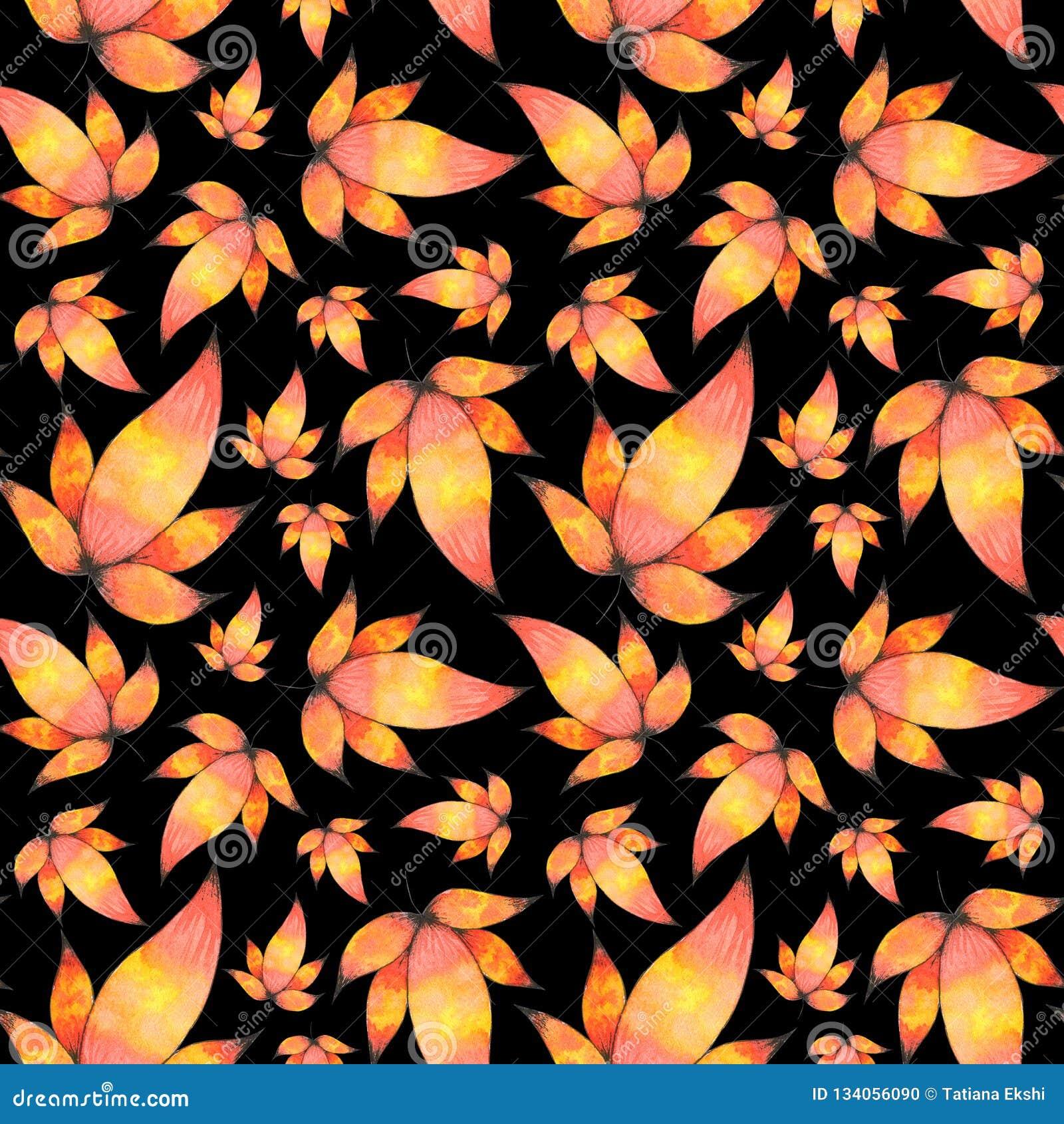 水彩手拉的叶子无缝的样式背景