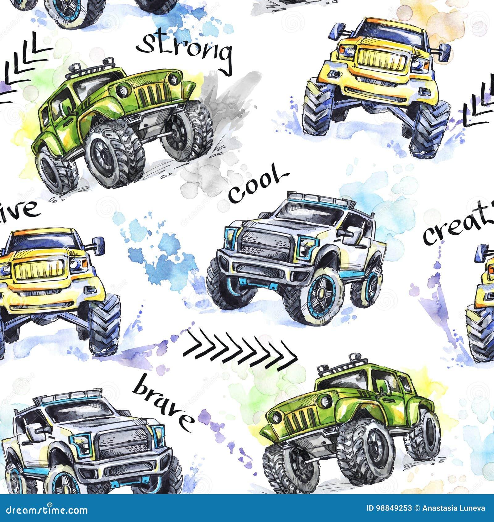 水彩无缝的样式动画片巨型卡车 五颜六色的极端体育背景 4x4 路的车SUV