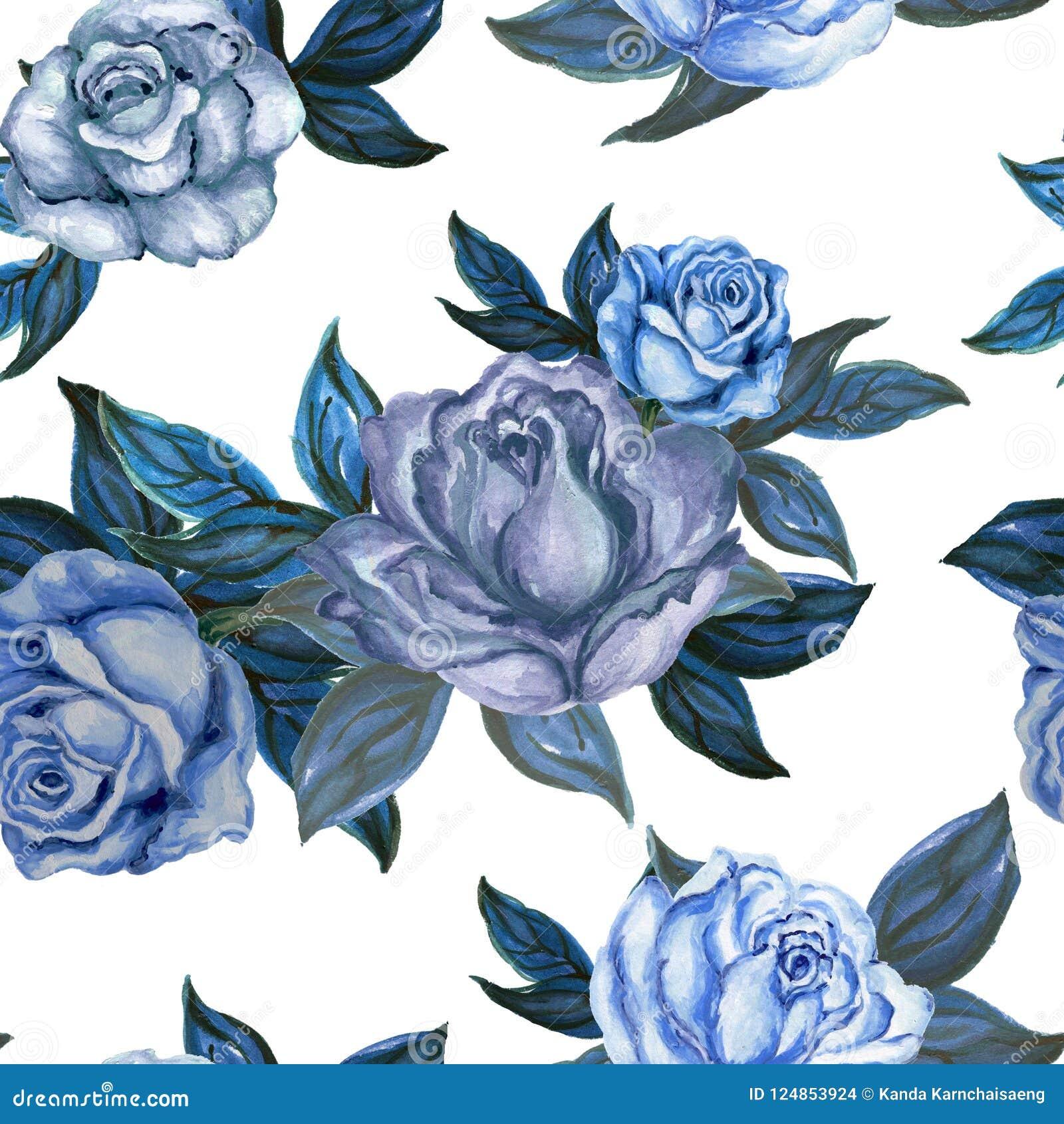 水彩树胶水彩画颜料葡萄酒玫瑰无缝的背景样式