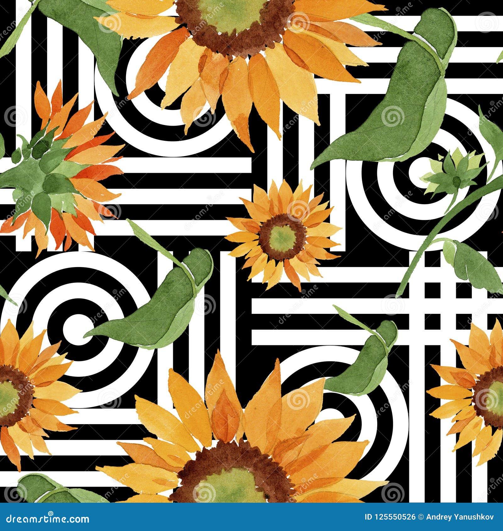 水彩橙色向日葵花 花卉植物的花 无缝的背景模式