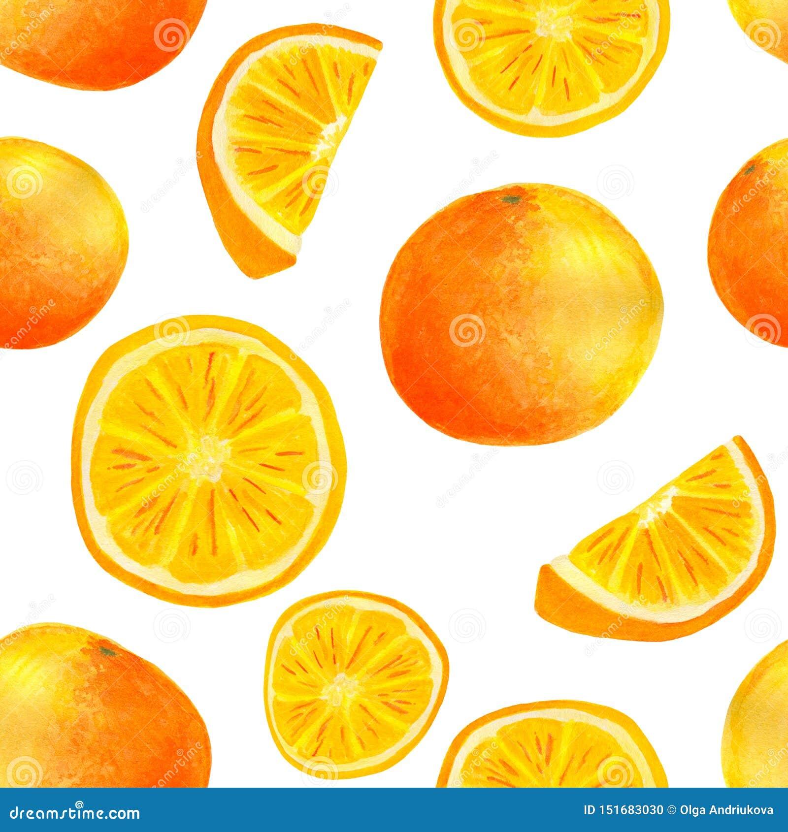 水彩橙色果子和切片无缝的样式
