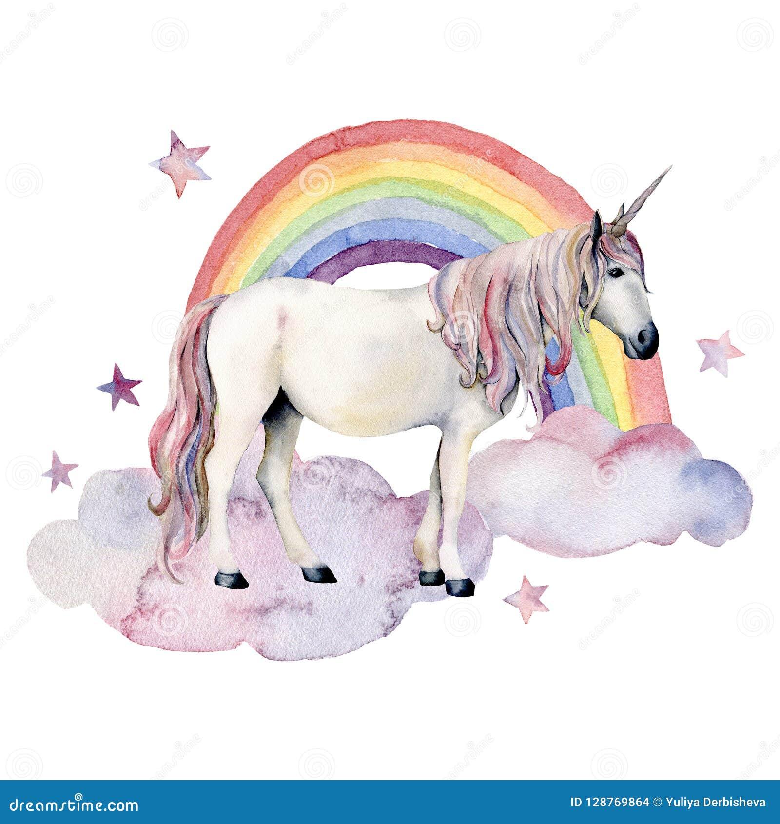 水彩童话卡片witn独角兽、云彩和彩虹 手画独角兽、五颜六色的被隔绝的彩虹和星