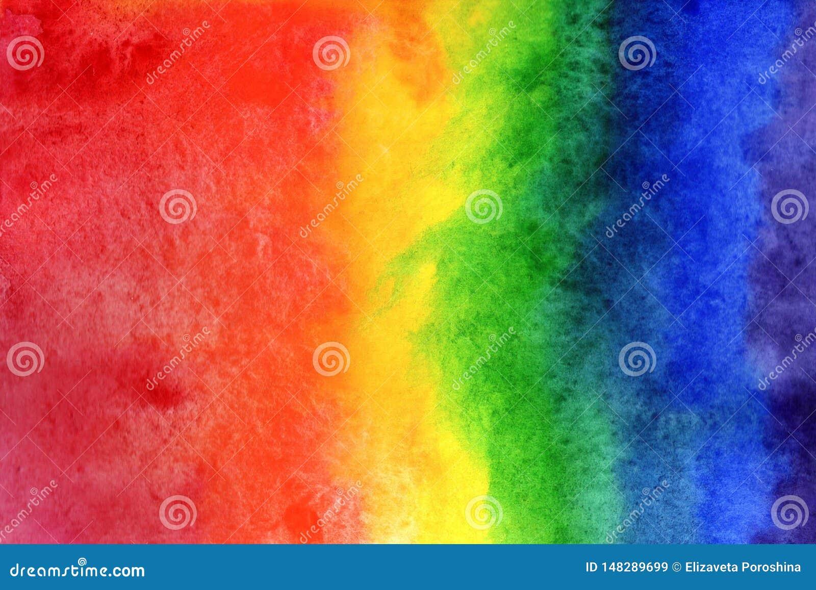 水彩背景例证 水彩在纸的彩虹梯度
