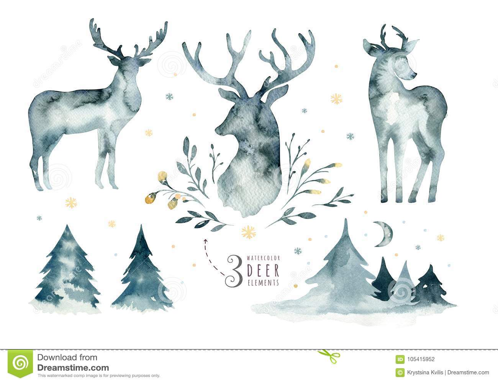 水彩蓝色鹿特写镜头画象  背景查出的白色 手拉的圣诞节靛蓝例证